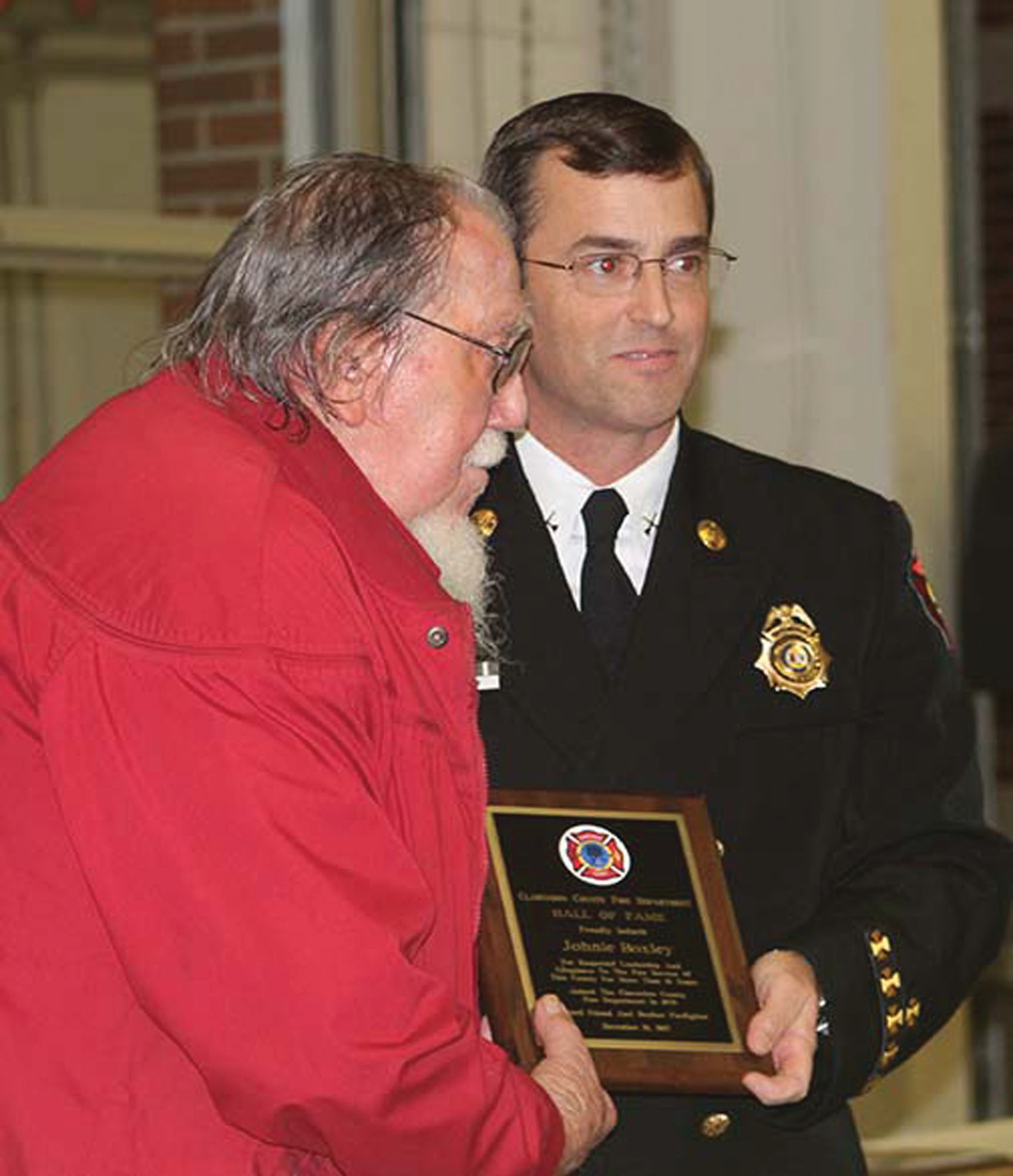 Volunteer firefighter Johnny Boxley was elected into Clarendon County Fire Department's Hall of Fame. Known for his colorful suspenders and headband, Boxley and his wife, Shirley, were an integral part of Wyboo Station 4, raising more than $60,000 through the years for needed fire equipment at Station 4 and throughout the county.