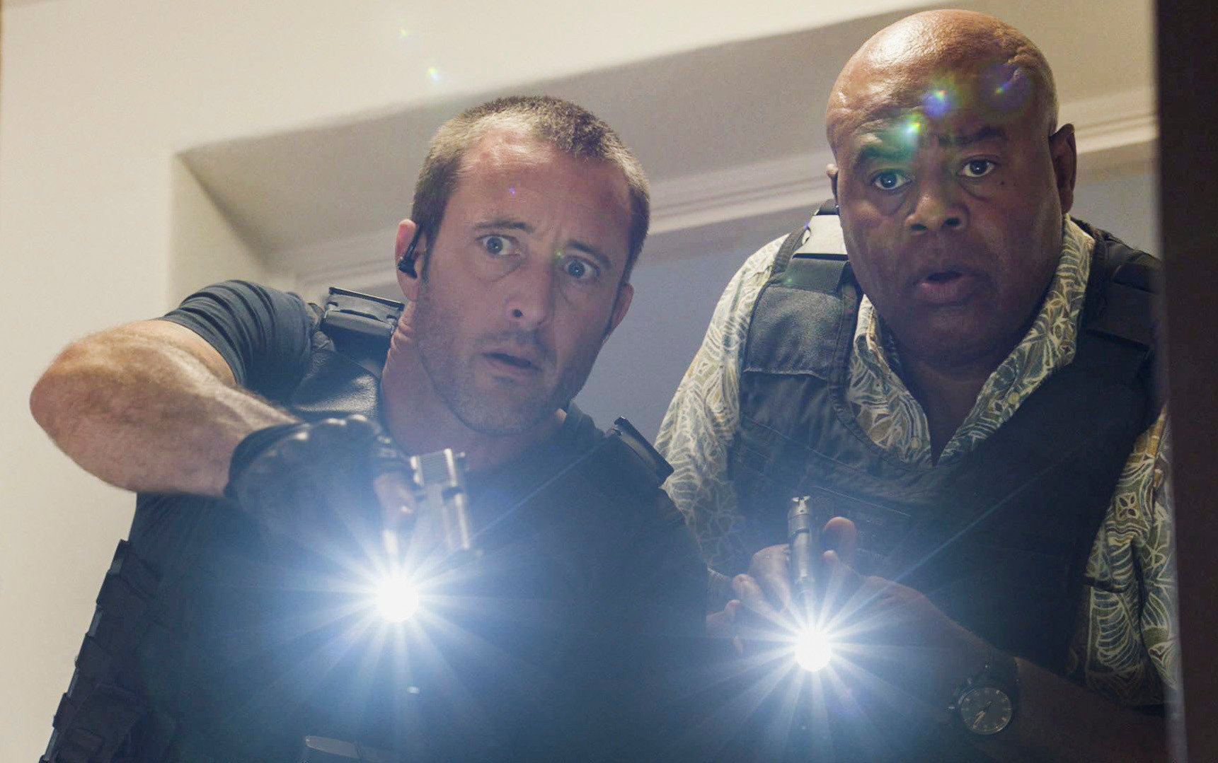 "Alex O'Loughlin, left, stars as Steve McGarrett and Chi McBride as Lou Grover on ""Hawaii Five-0,"" airing at 9 p.m. today on CBS."