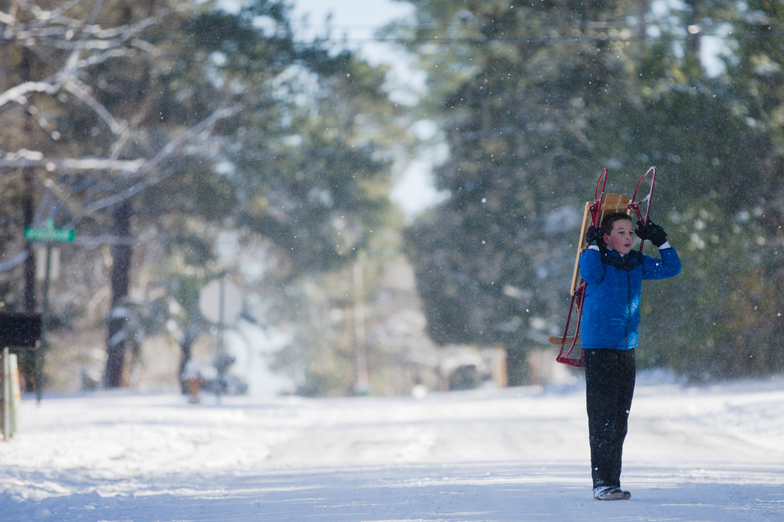 Shawn Michael, 11, hauls a sled to the starting line on an icy road in Sumter.
