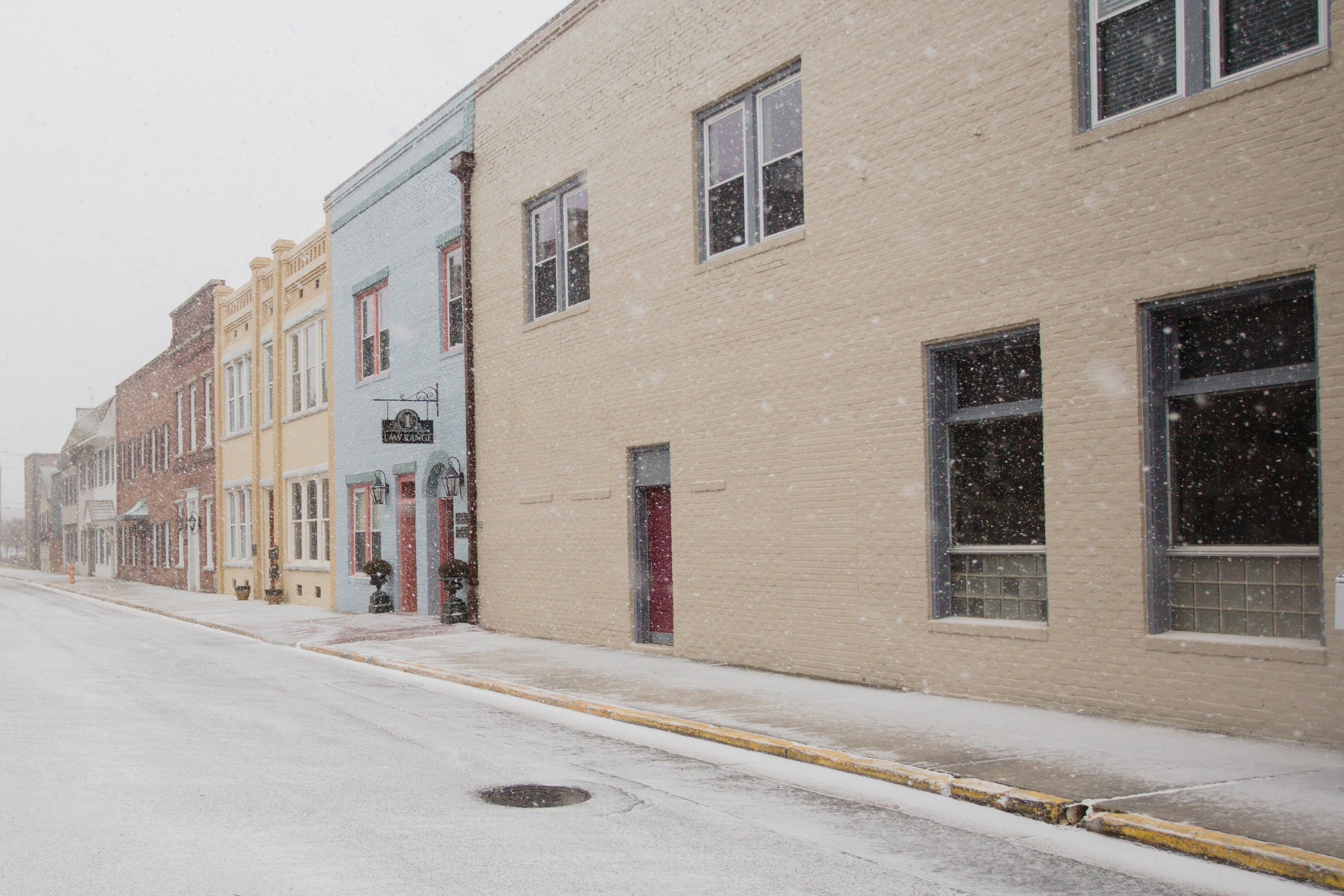 Downtown Sumter begins to get a dusting of snow on Wednesday.