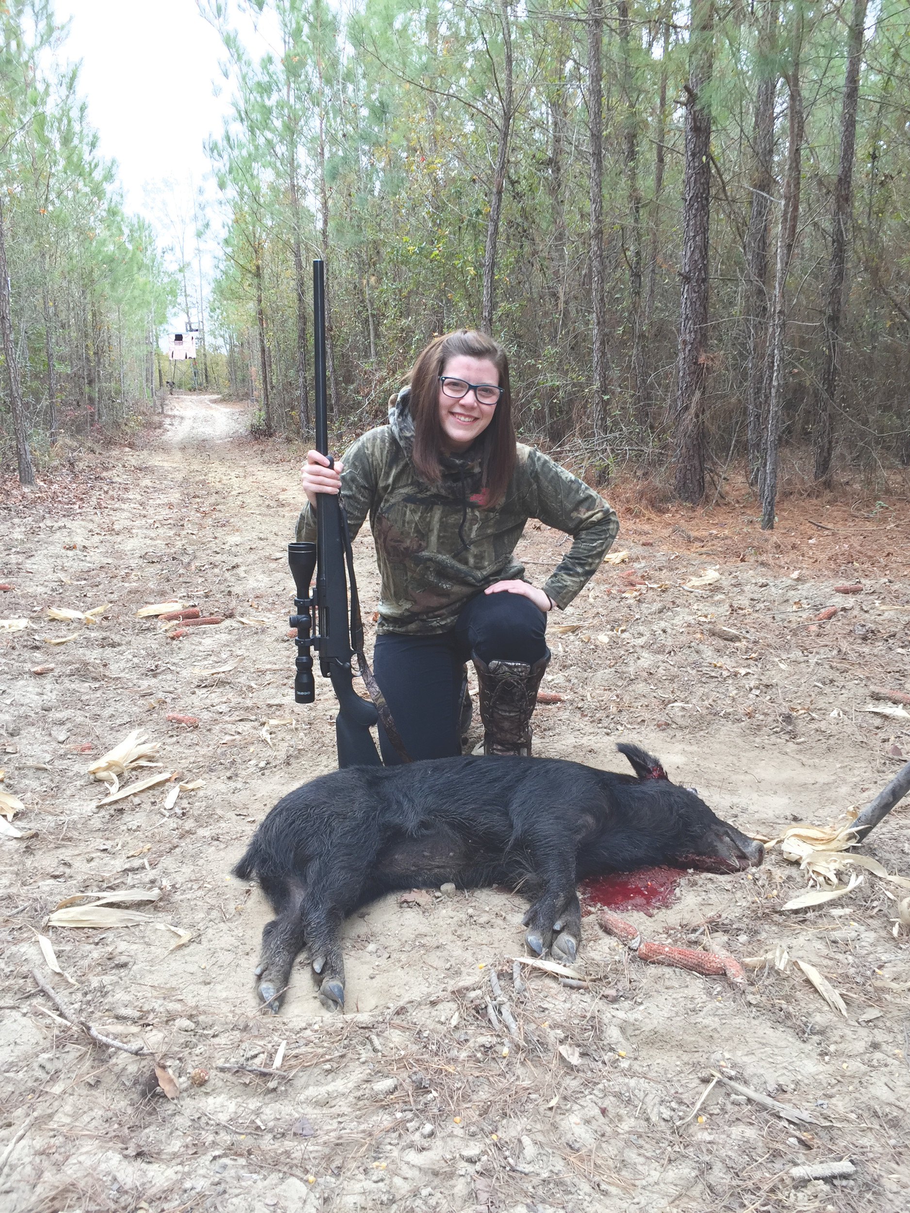 Kristen Hartley shot this pig during the holidays. It was her first kill.