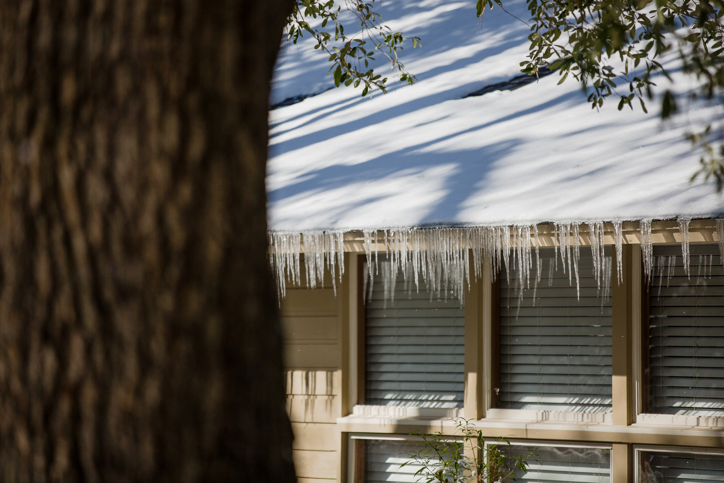 Soon after Christmas lights get taken down in Sumter, real icicles are made on a roof.