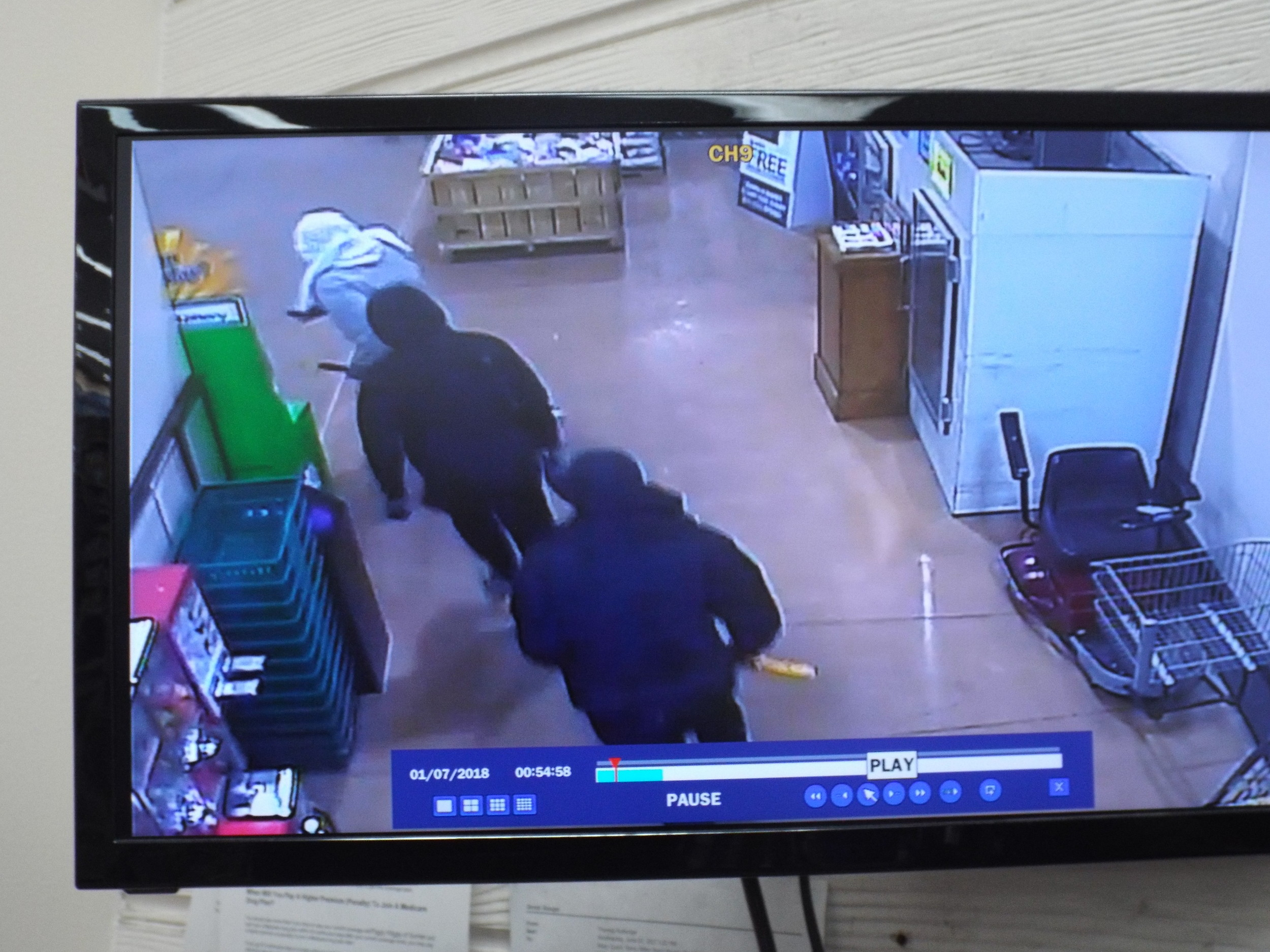 Three suspects were caught on surveillance cameras reportedly breaking into the South Sumter store.