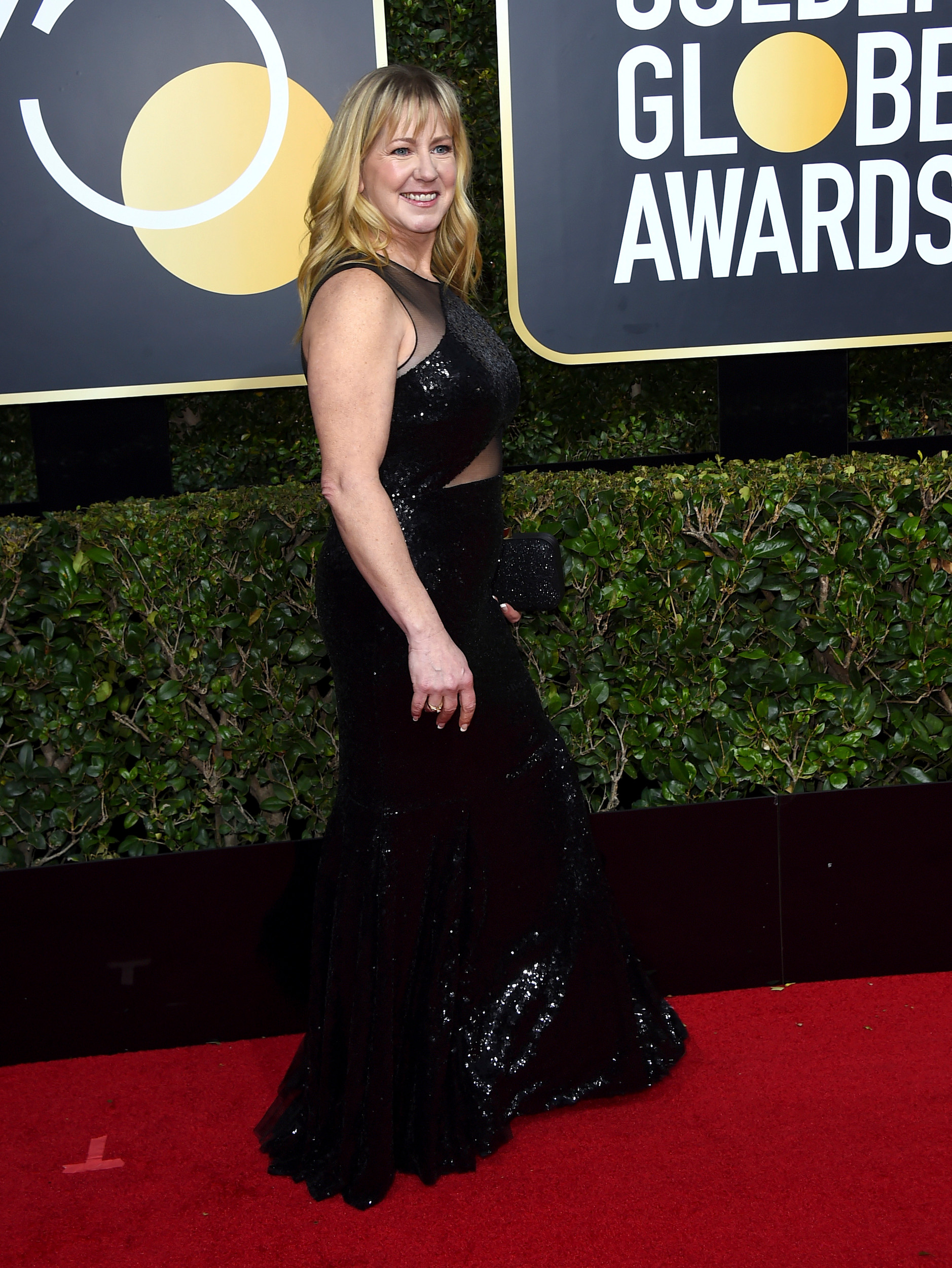 Tonya Harding arrives at the 75th annual Golden Globe Awards at the Beverly Hilton Hotel on Sunday.