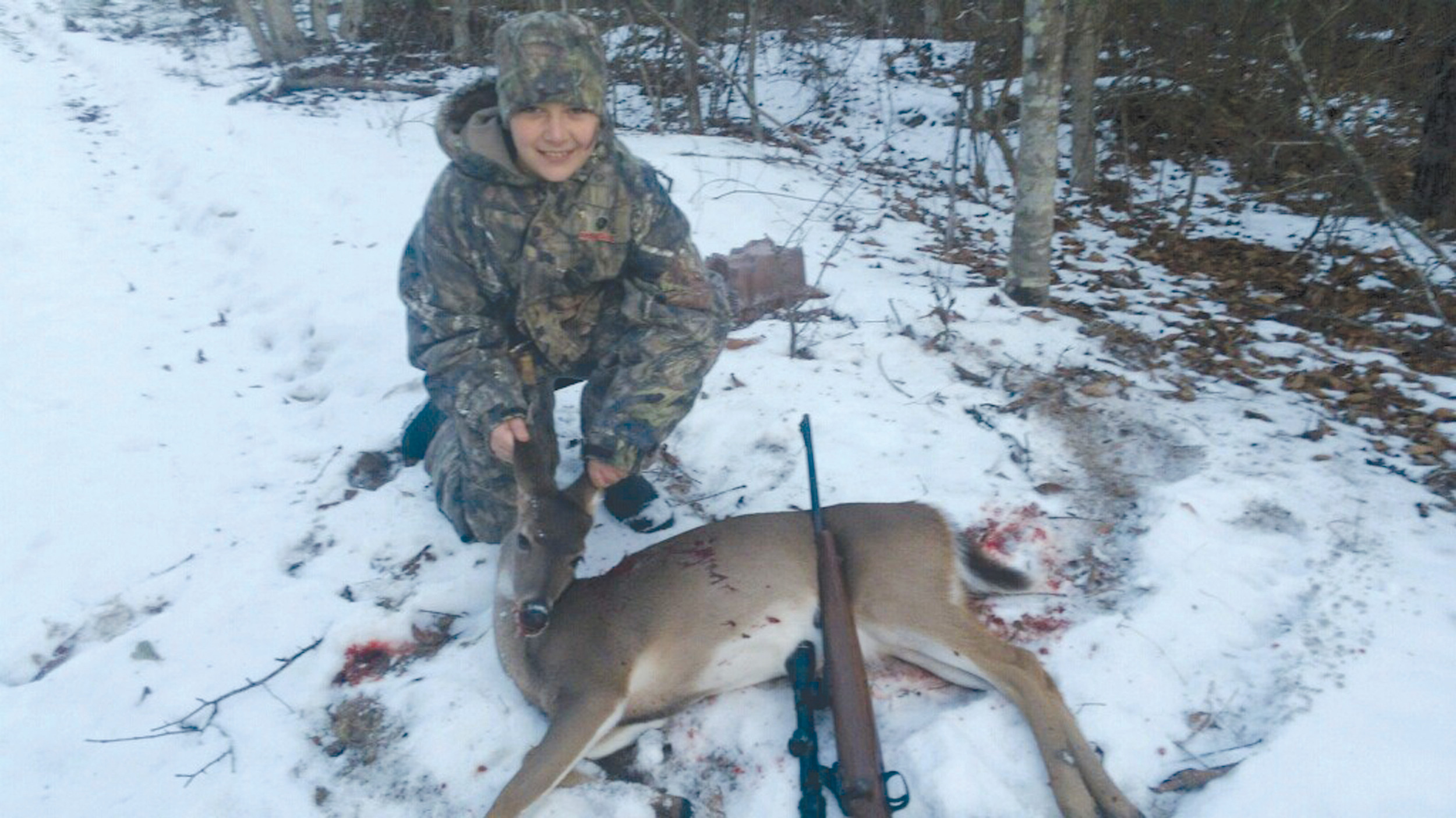 Tommy Hill, 9, of Alcolu, killed his deer on Youth Day in Elloree.