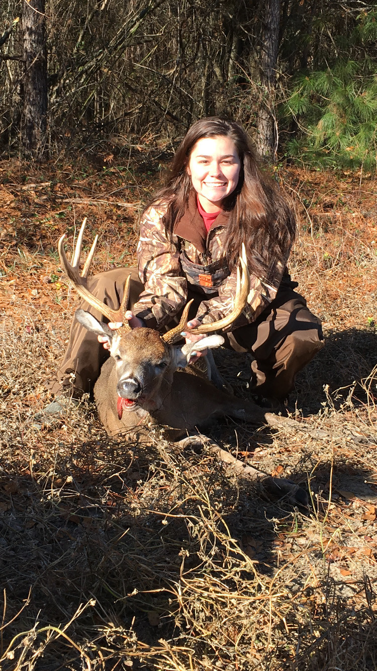 Hannah Rogers killed her first big buck Dec. 26. It was 185 pounds with a 19-inch, eight-point spread. She was hunting with her dad and friends in Clarendon County.