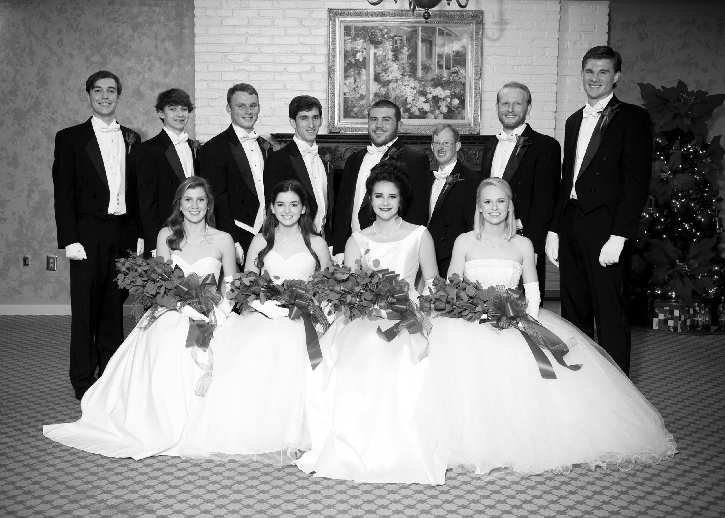 From left: front row, debutantes Elizabeth Rose Coffey, Mary Geer Kirkland, Mackenzie Elaine Ham and Eadon Kressly Moody; and back row, escorts William Columbus Coffey IV, Reid Foster Darby, Bailey Henry Kirkland, Kenneth Reaves Wannamaker, Tyler Watson Baker, Lane Olin Ham, Robert McFaddin Moody and Troy Ingram Clifford.