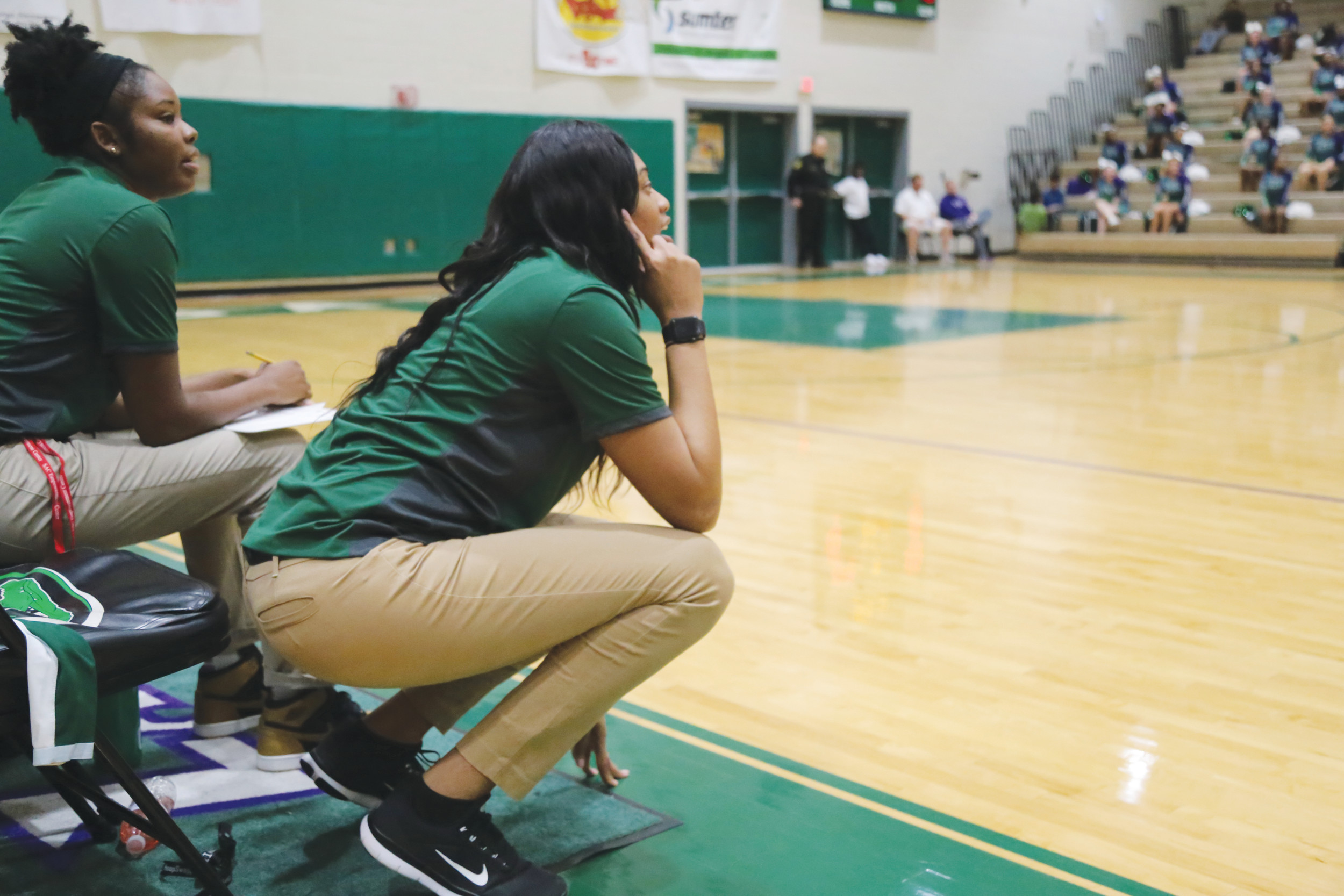 Lakewood head coach Demetress Adams-Ludd, the former Lee Central High School and University of South Carolina standout, directs her team late in its 54-19 region win over Lugoff-Elgin on Friday at The Swamp.