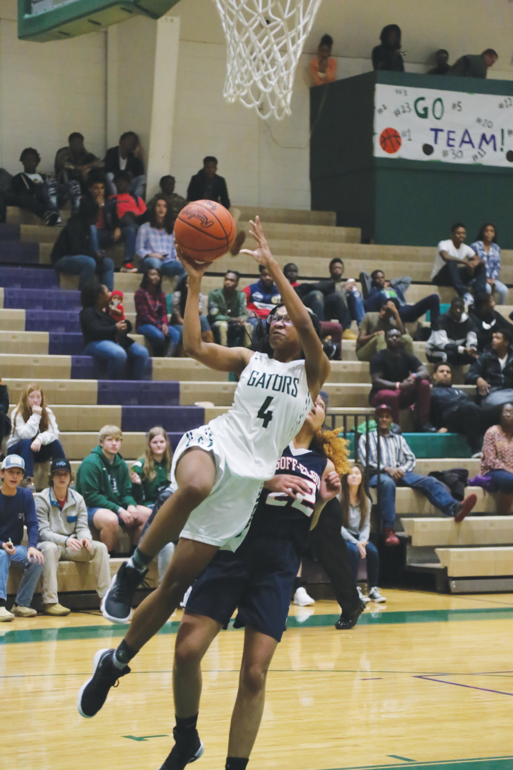 Lakewood's Lashala Harvin goes for a layup during the Lady Gators' 54-19 victory over Lugoff-Elgin on Friday at The Swamp. Harvin led all scorers in the game with 18 points.