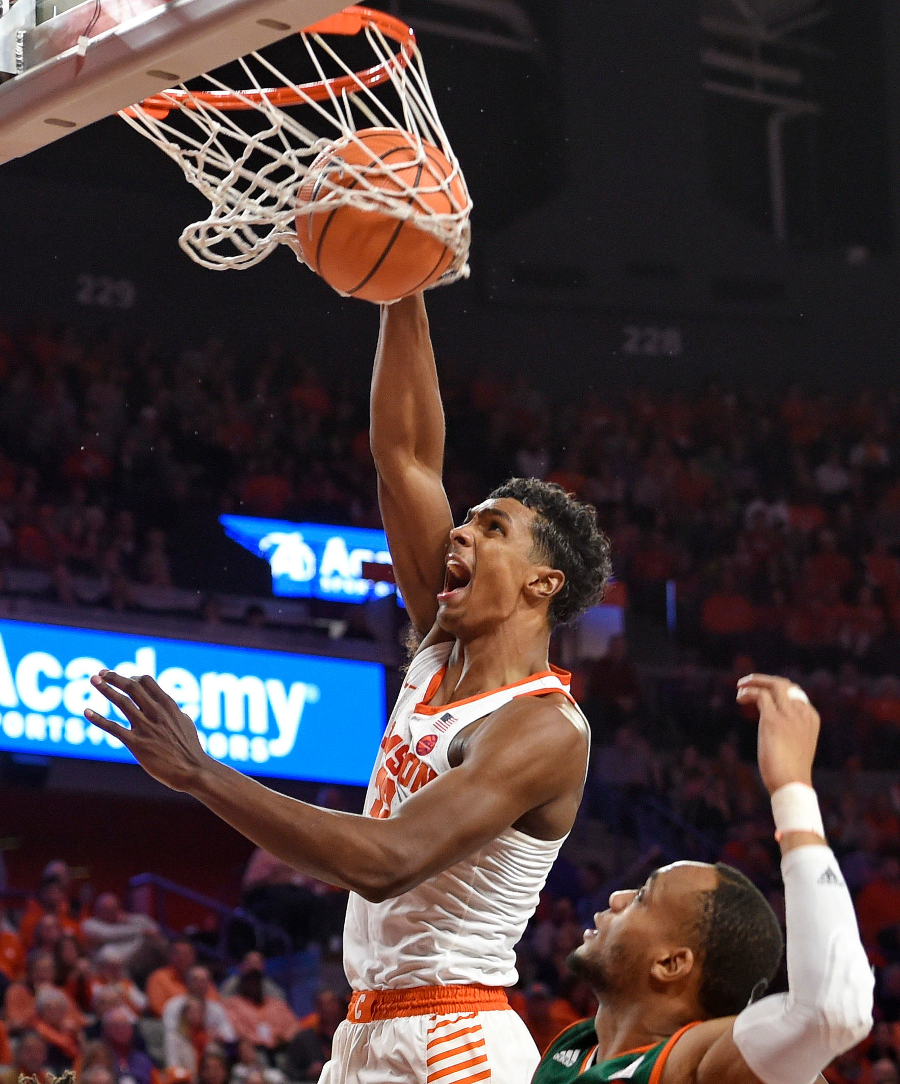 Clemson's Donte Grantham slams in a dunk in the Tigers' 72-63 victory over Miami on Saturday in Clemson. Clemson will take on North Carolina today in Chapel Hill, where a Clemson men's basketball team has never won a game.