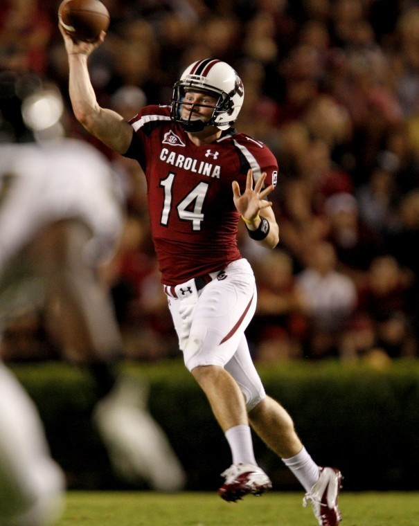 Connor Shaw (14), the winningest quarterback in school history at South Carolina and now an assistant at Furman, will be the guest speaker at the Sumter Touchdown Club banquet on Thursday at Central Carolina Technical College.