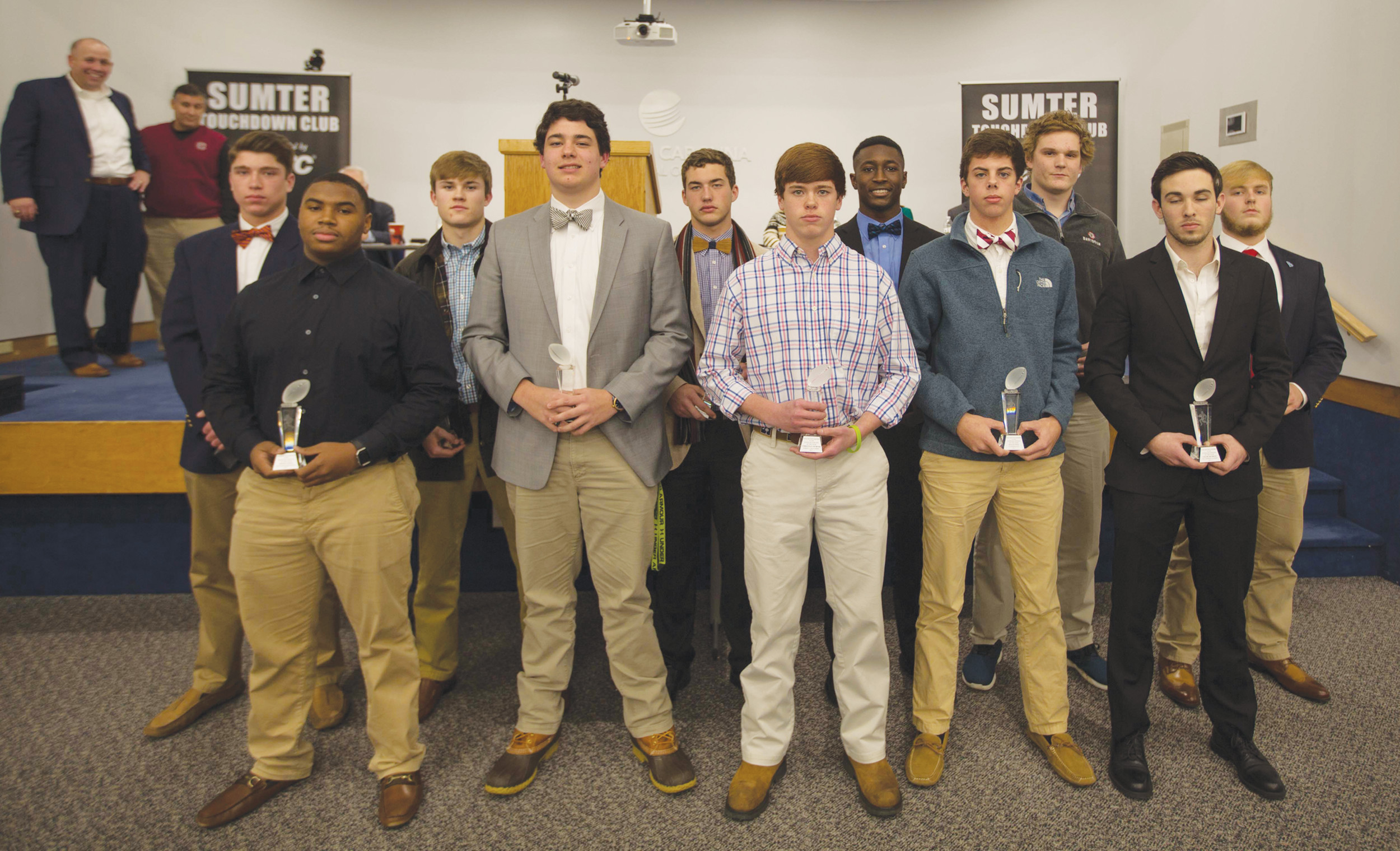 The Sumter Touchdown Club honored a number of local high school athletes during its annual banquet on Thursday, Jan. 18. The scholar athletes recognized by the club display their plaques.