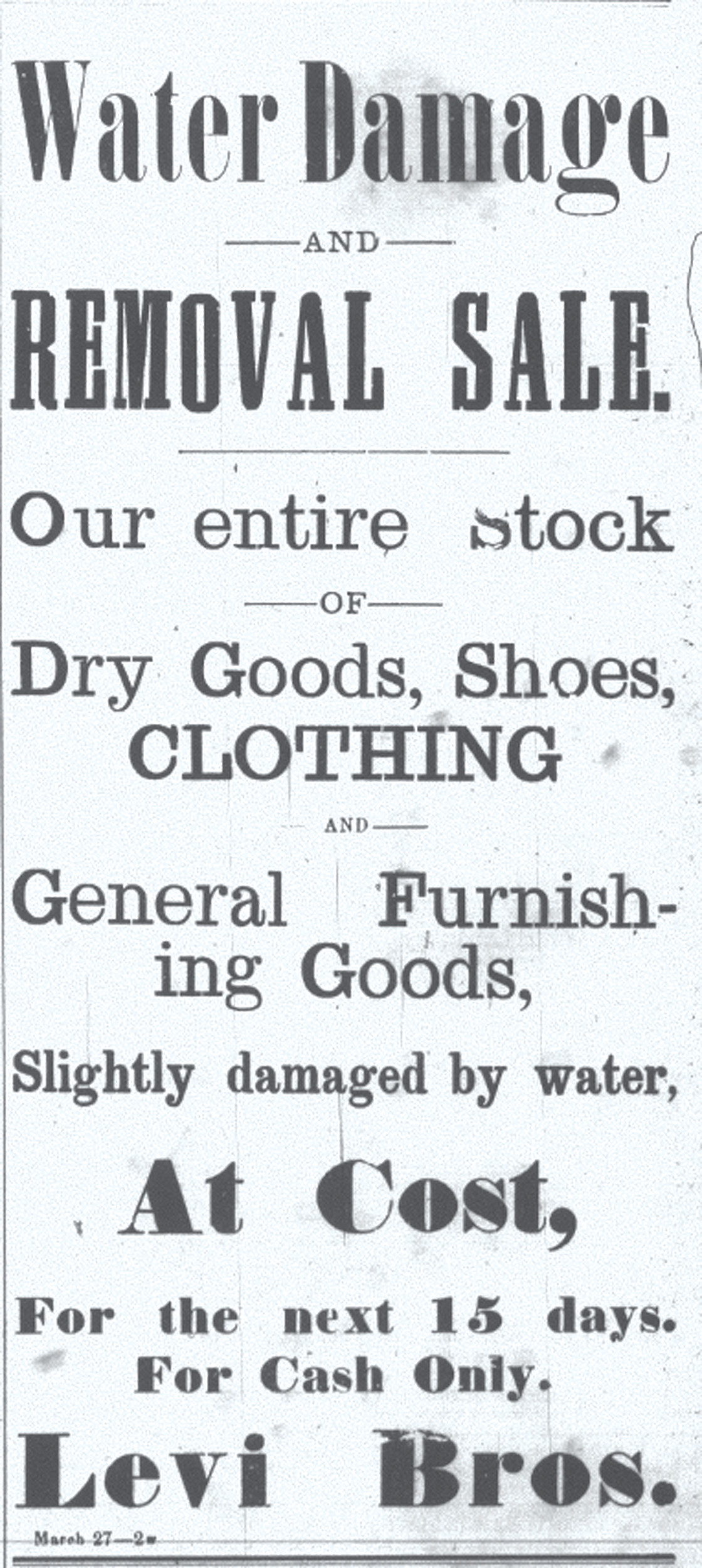 A sale ad for Levi Bros. in 1901 is seen.