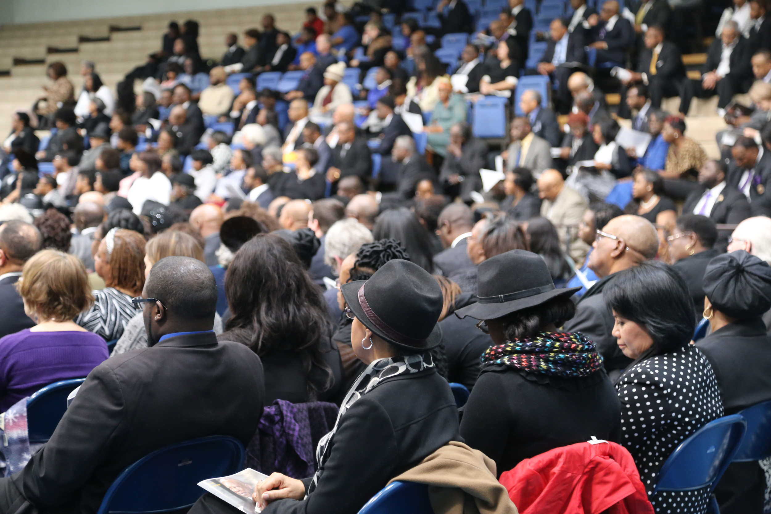 PHOTO BY ADRIENNE SARVISHundreds of community members, students and alumni attend a service for Luns C. Richardson, the longest-serving president of Morris College on Friday.