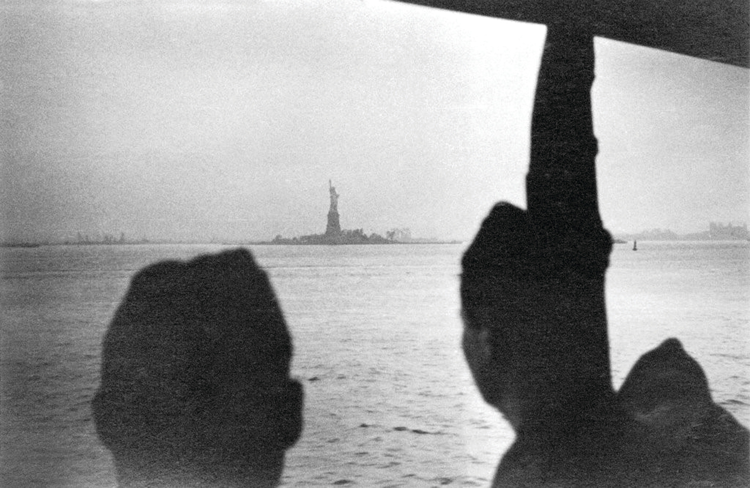 Heckel is seen as the Statue of Liberty comes into view after his liberation in 1945.