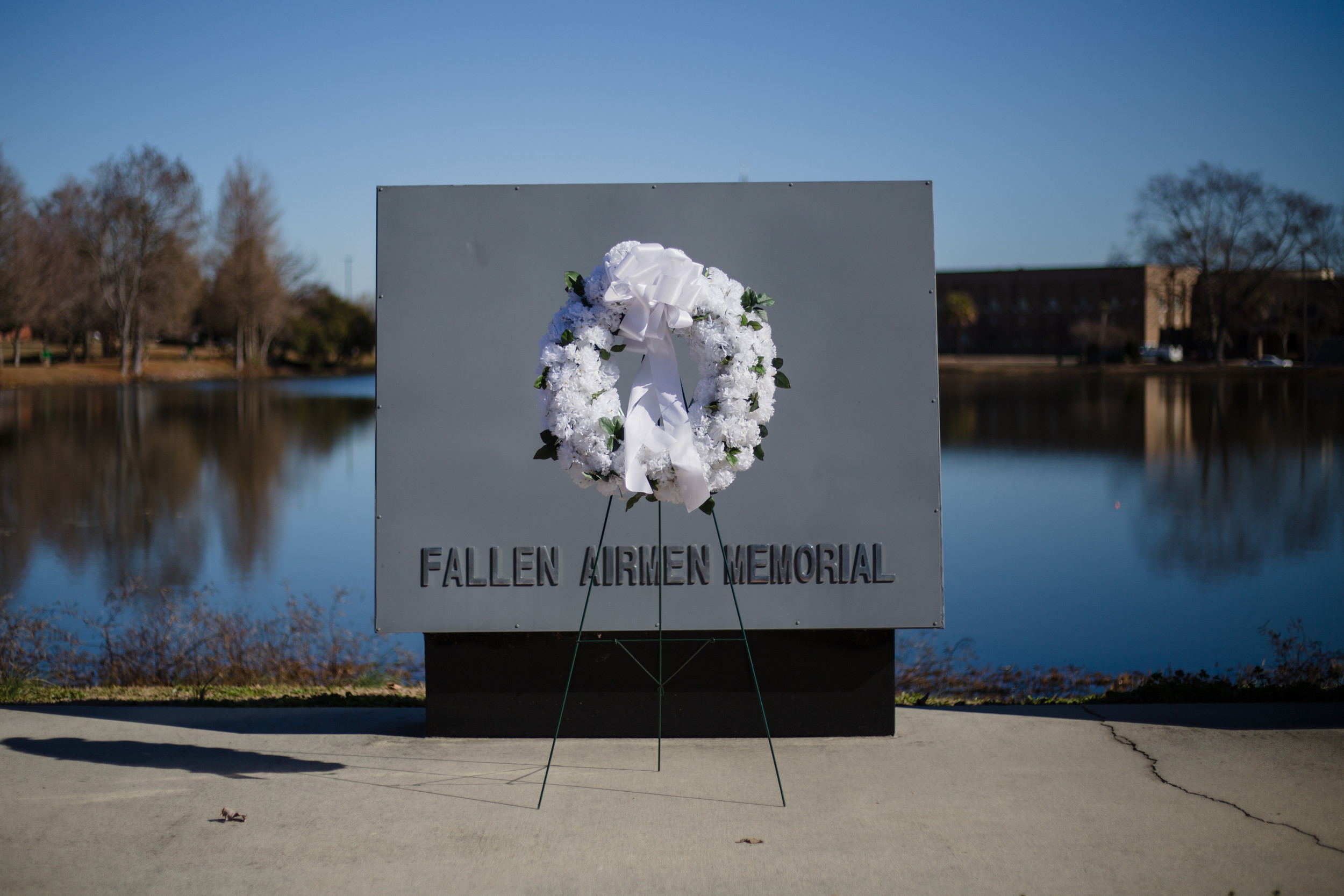 A memorial is seen during the ceremony Friday at Shaw Air Force Base.