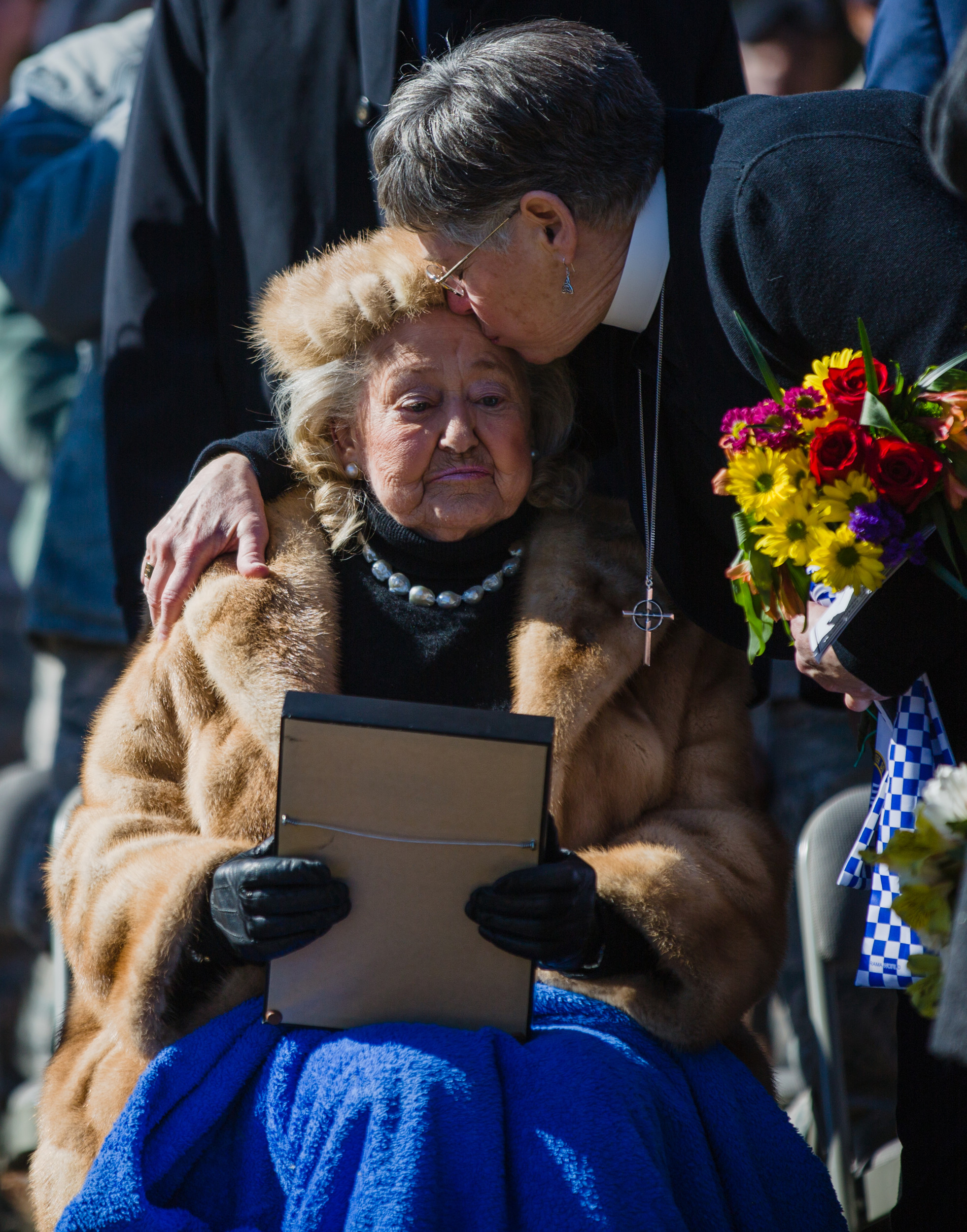 Jacqueline Heckel, wife of honored former POW the late Lt. Charles C. Heckel, attends a ceremony in her husband's honor at Shaw Air Force Base on Friday. Lt. Heckel was honored with a Prisoner of War Commendation.