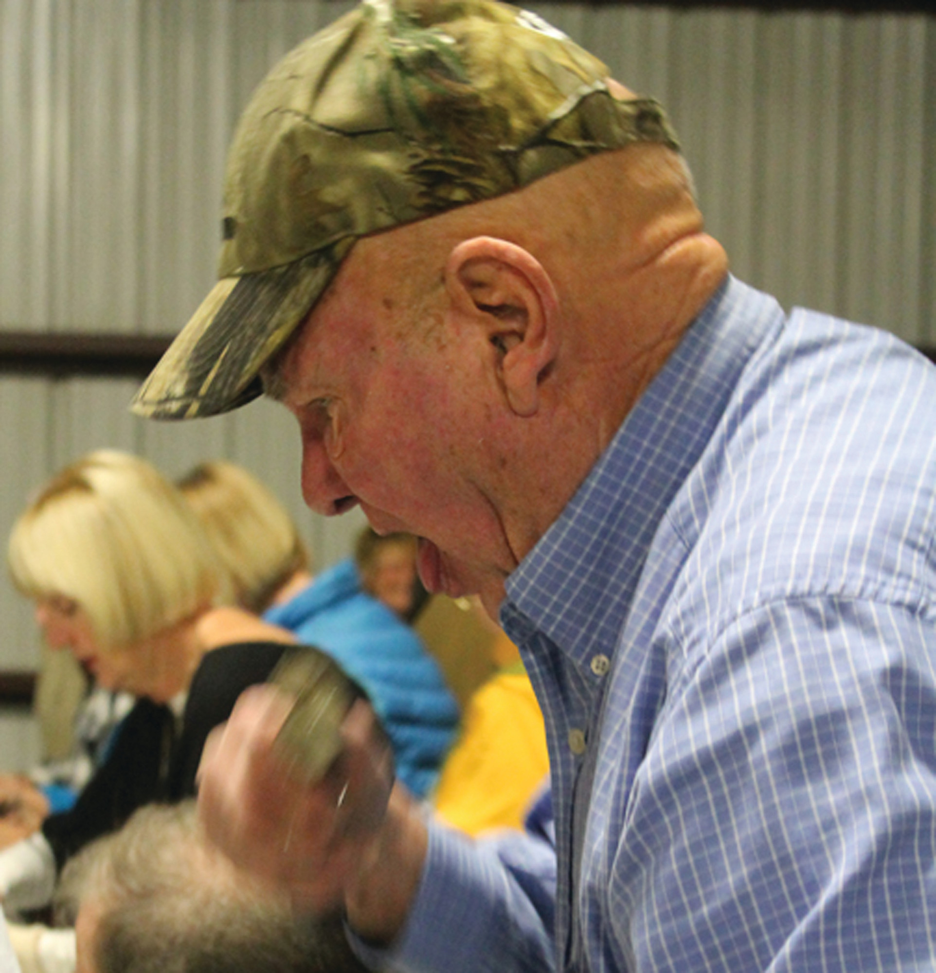 Clarendon County volunteer firefighter Buddy Way enjoyed the steaming hot oysters at the annual oyster roast.