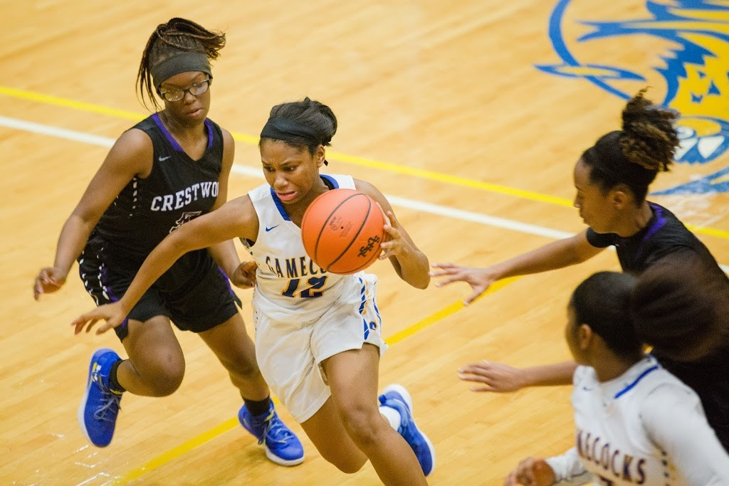 Sumter's Dynasia Jackson (12) and the Lady Gamecocks snapped a 2-game losing streak with a 57-31 victory over West Florence on Friday in Florence.