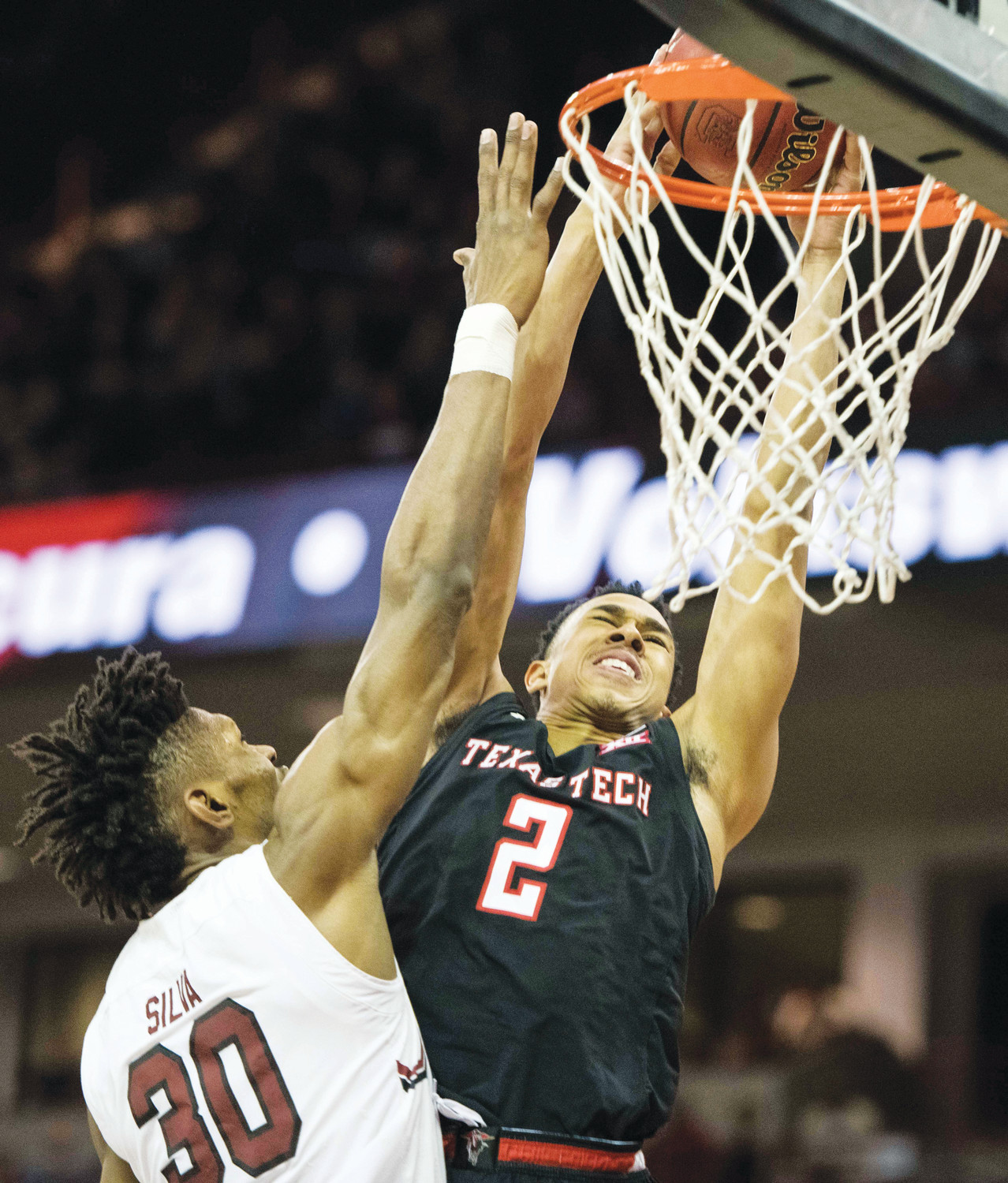Texas Tech guard Zhaire Smith (2) dunks the ball against South Carolina forward Chris Silva (30) during the first half of the 14th-ranked Red Raiders' 70-63 victory on Saturday in Columbia.