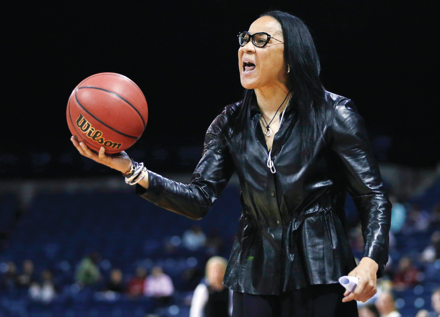South Carolina head coach Dawn Staley protest a foul during the second half of a 2017 regional final against Florida State in the NCAA women's college basketball tournament in Stockton, California. Staley and the Gamecocks have been preparing to play No. 1 UConn while the coach dealt with comments by Missouri athletic director Jim Sterk's comments that she fostered a hostile atmosphere during last Sunday's game against the Tigers.