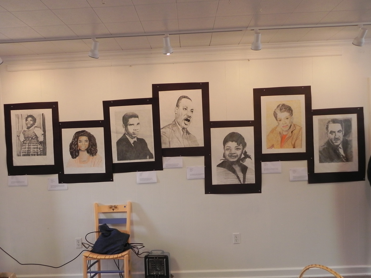 Portraits by students at Scott's Branch High School hang in the Lake Marion Artisans Art Gallery for Black History Month.