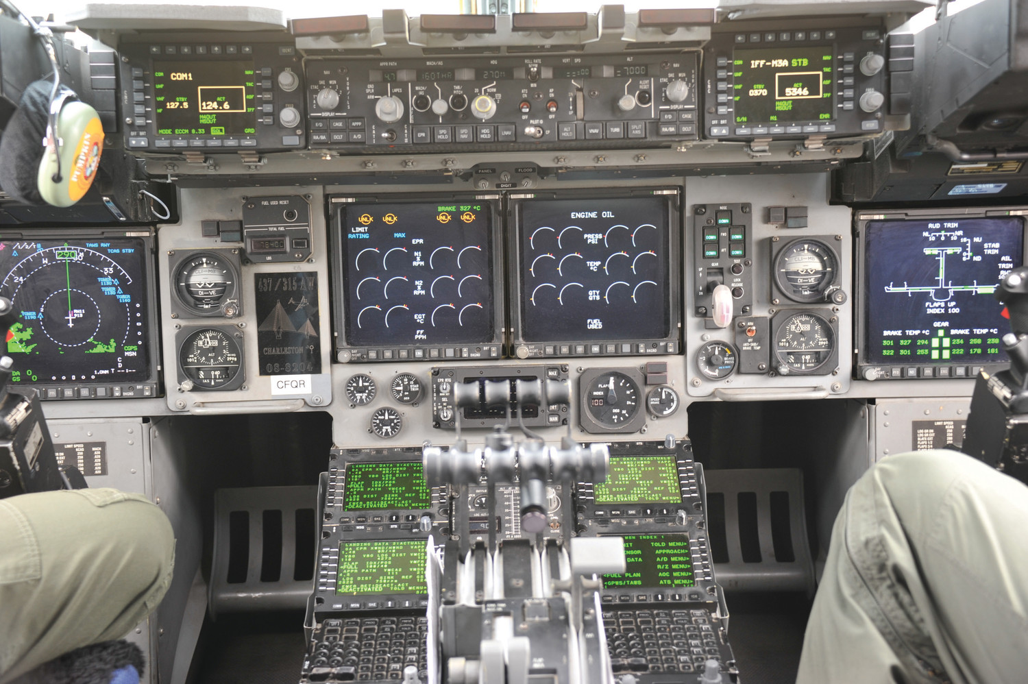 A view of the instrument panel of a C-17 Globemaster from the 437th Airlift Wing out of Joint Base Charleston.