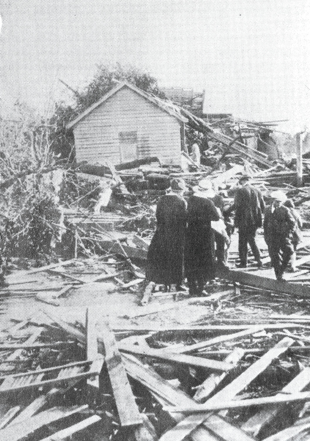 Damage to the DuBose Siding area is seen after a tornado struck Sumter in April 1924.