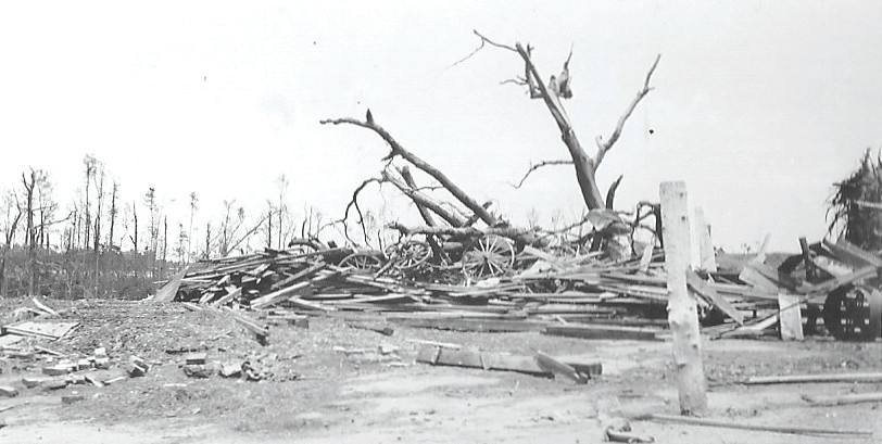 C. J. Jackson's barnyard is seen in Horatio after being damaged in the April 1924 tornado that tore through Sumter County.