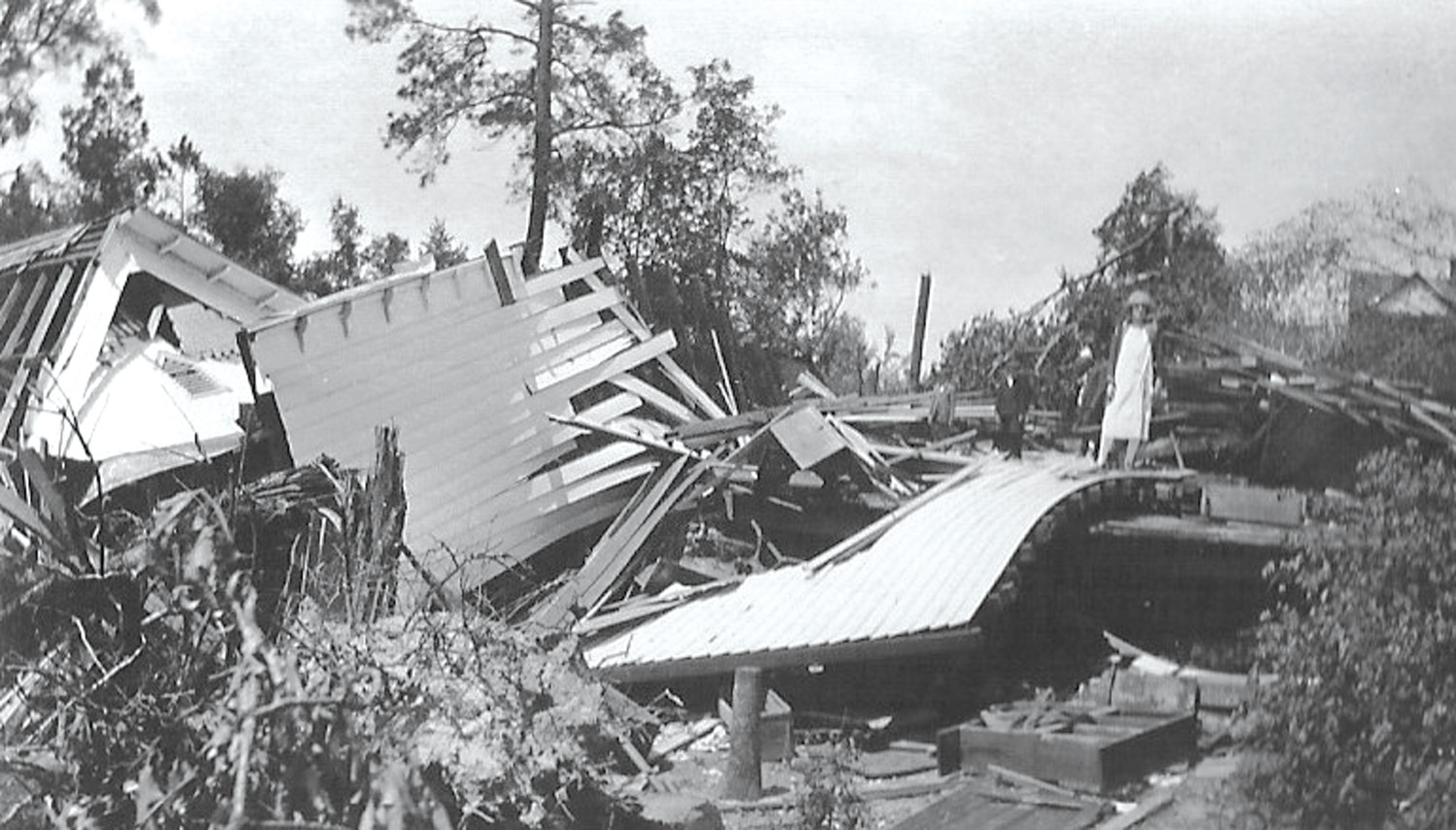 A school is seen heavily damaged in Horatio after the tornado.