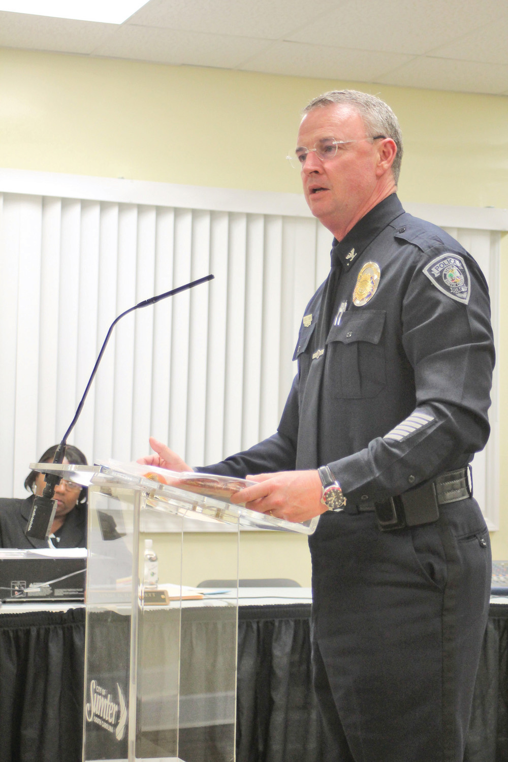 "SUMTER ITEM FILE PHOTO Sumter Police Chief Russell Roark III urged residents to ""Lock It Before You Leave It"" at Tuesday's Sumter City Council meeting. Roark was referring to the department's initiative to prevent vehicle break-ins in Sumter. Roark also spoke on the department's efforts to connect with the community."