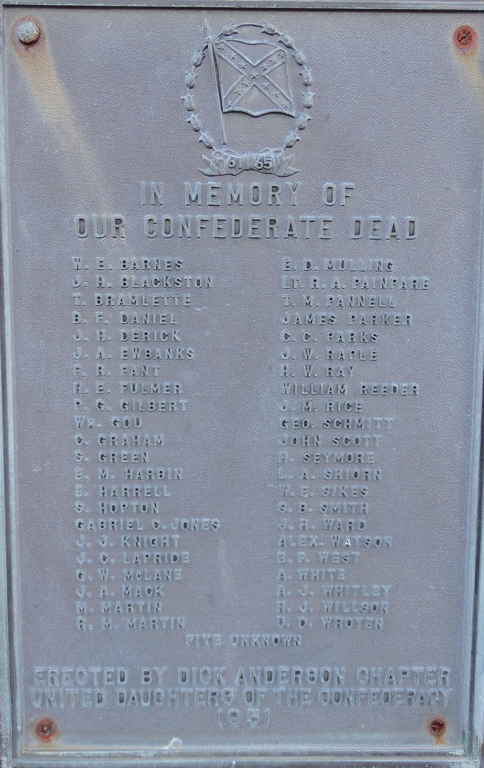 The memorial in Sumter Cemetery lists names of those buried there along with five unknown soldiers who died during the Civil War. A soldier who died after the Battle of Dingle's Mill was originally buried on the First Presbyterian Church grounds but was later moved to the Sumter Cemetery site.