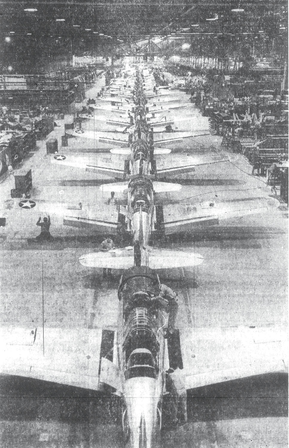 1943 — The production line is seen at the Consolidated Vultee aircraft plant at Downey, California, where basic trainer planes like the ones used at Shaw Field are made. Sumter citizens helped to buy several of these planes by purchasing War Bonds during the Lions Club drive in August.