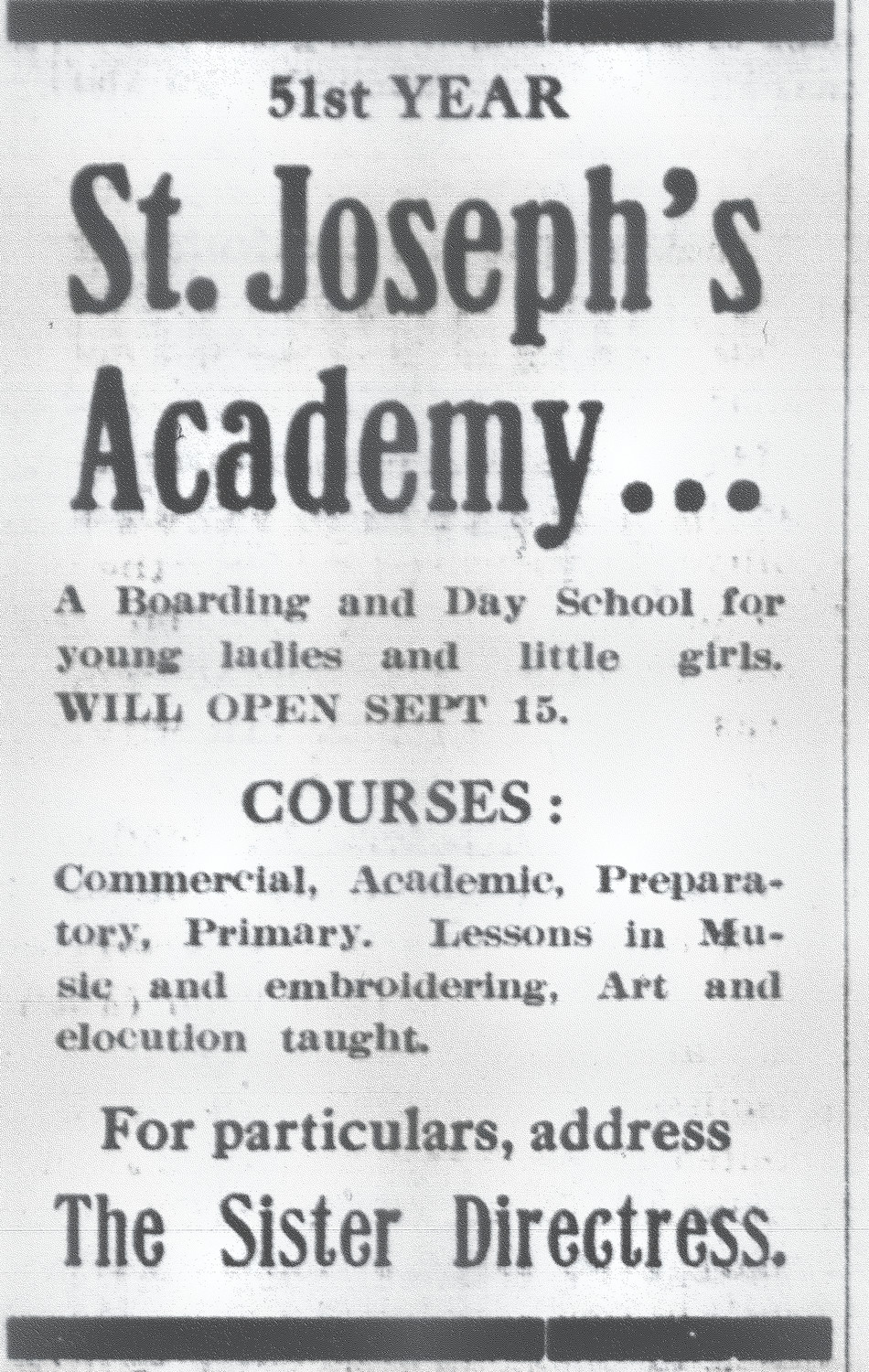 The academy was advertised as a day school for young girls.