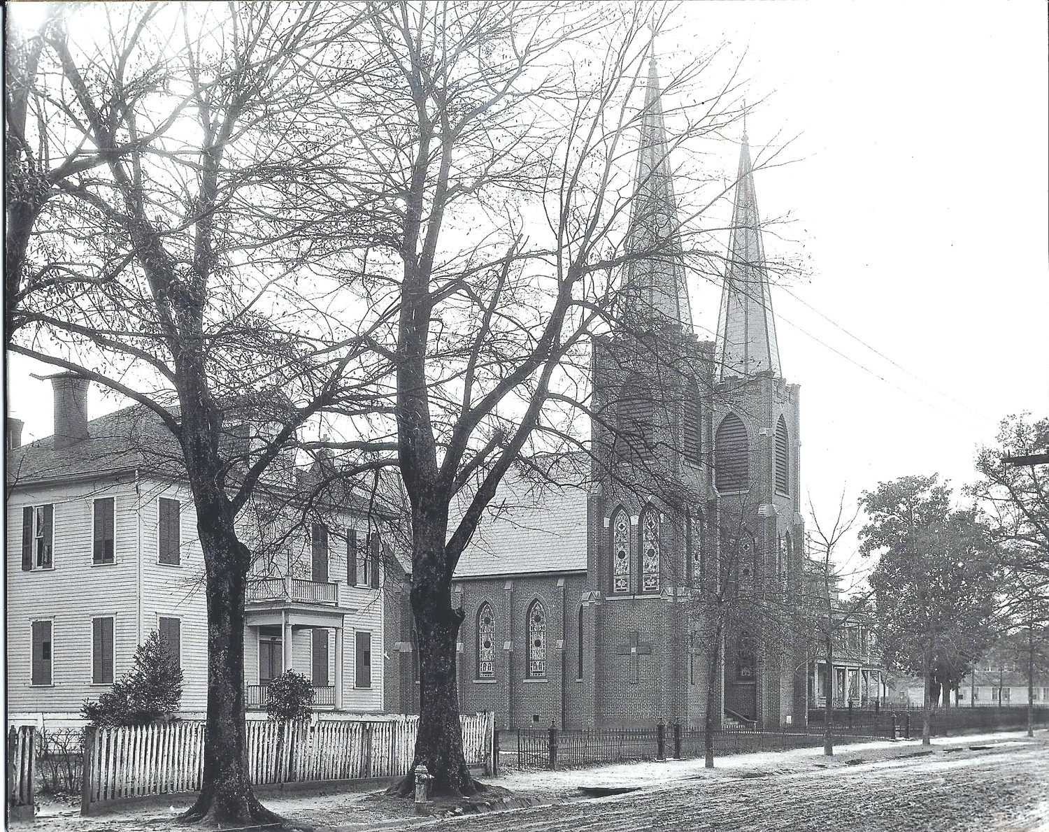 St. Anne's Rectory, St. Anne's Church and St. Joseph's Academy are seen about 1915.