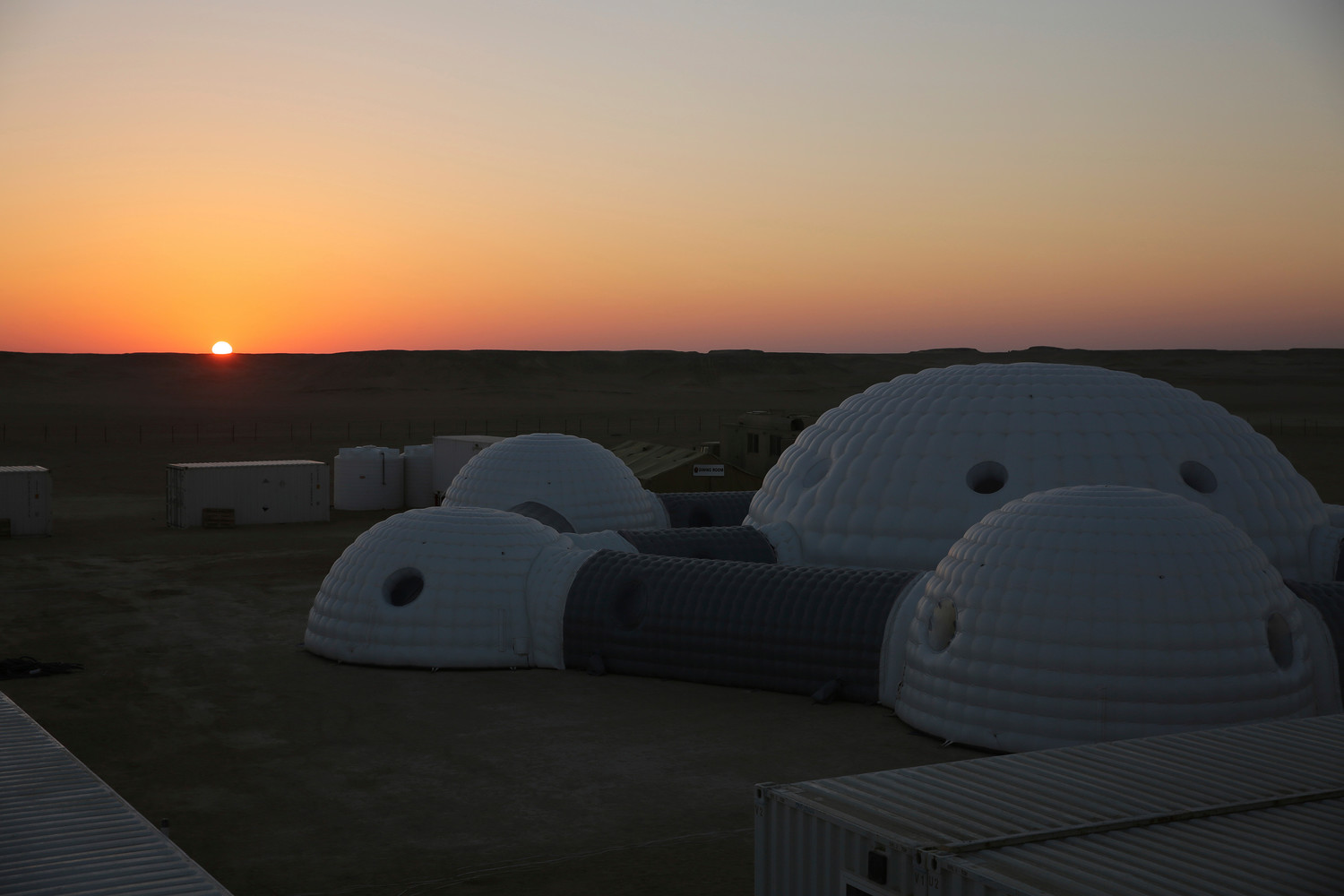 THE ASSOCIATED PRESSThe sun rises over a 2.4-ton inflated habitat used by the AMADEE-18 Mars simulation in the Dhofar desert of southern Oman on Thursday. The desolate desert resembles Mars so much that more than 200 scientists from 25 nations organized by the Austrian Space Forum are using it for the next four weeks to field-test technology for a manned mission to Mars.