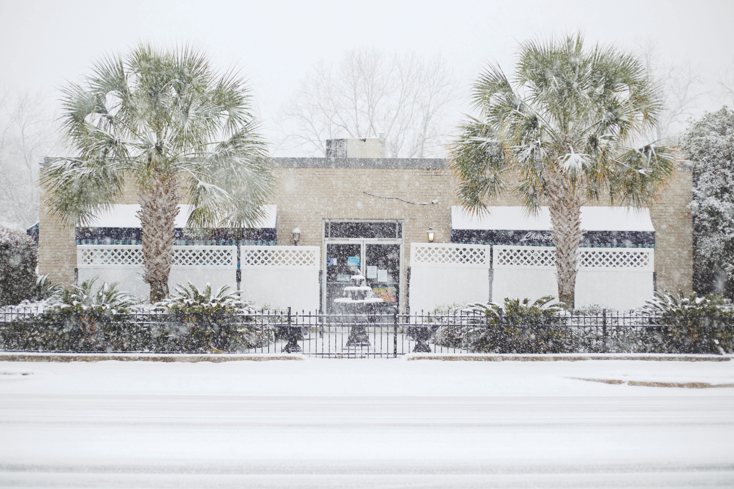 Charpy's Pool Service on Liberty Street is seen during the early January snowfall.