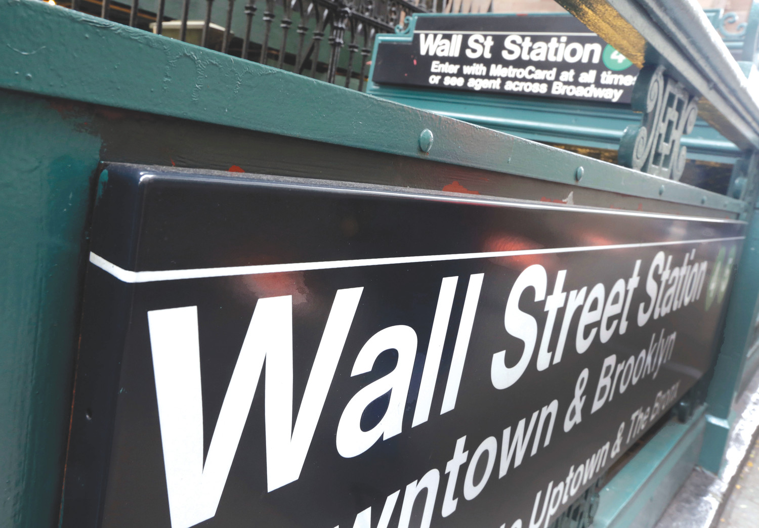 The Wall Street subway stop on Broadway in New York's Financial District is seen in 2014