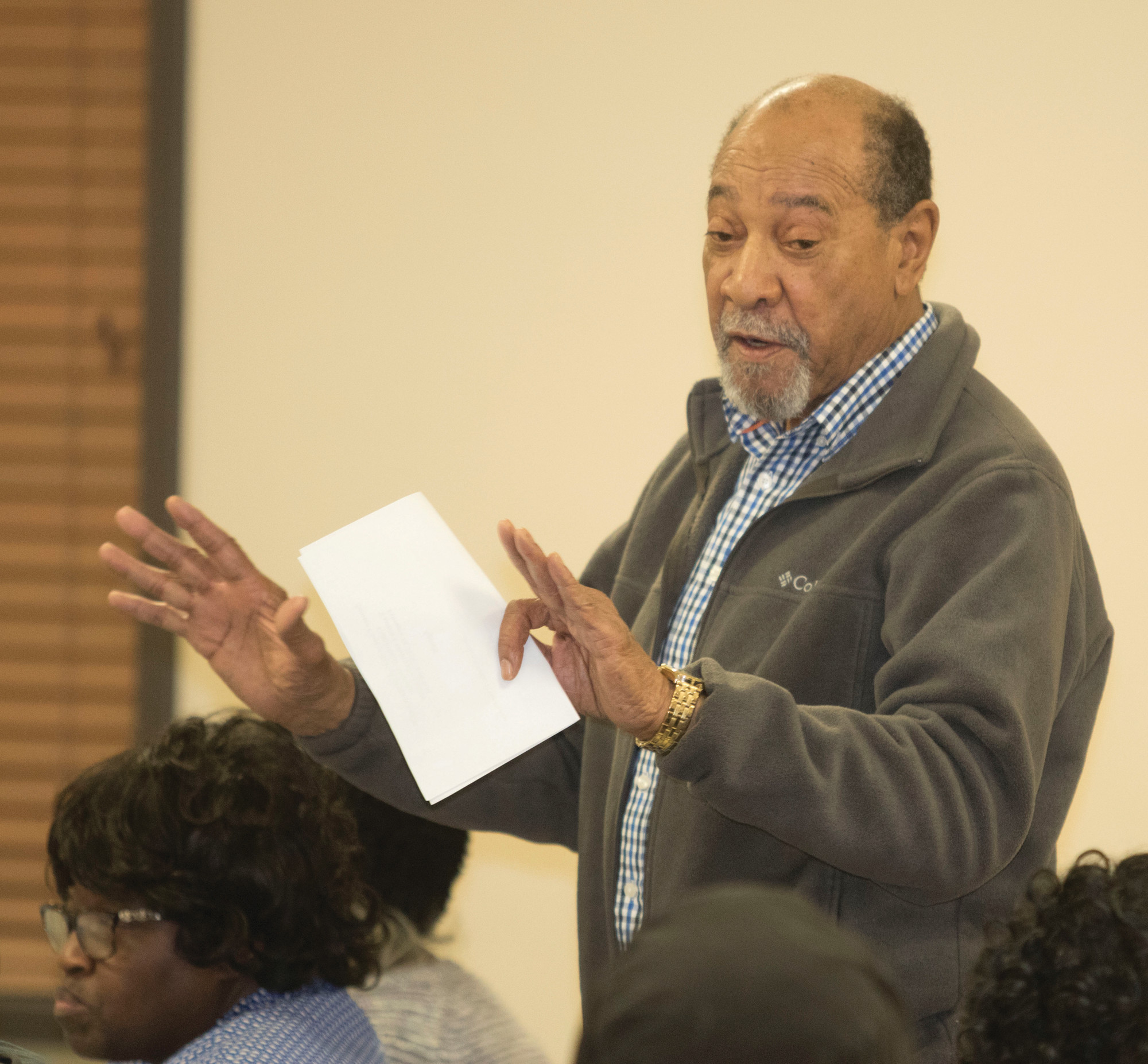 Sumter resident Billy Shaw addresses the audience Tuesday during the NAACP community meeting at Eastern Community Center.