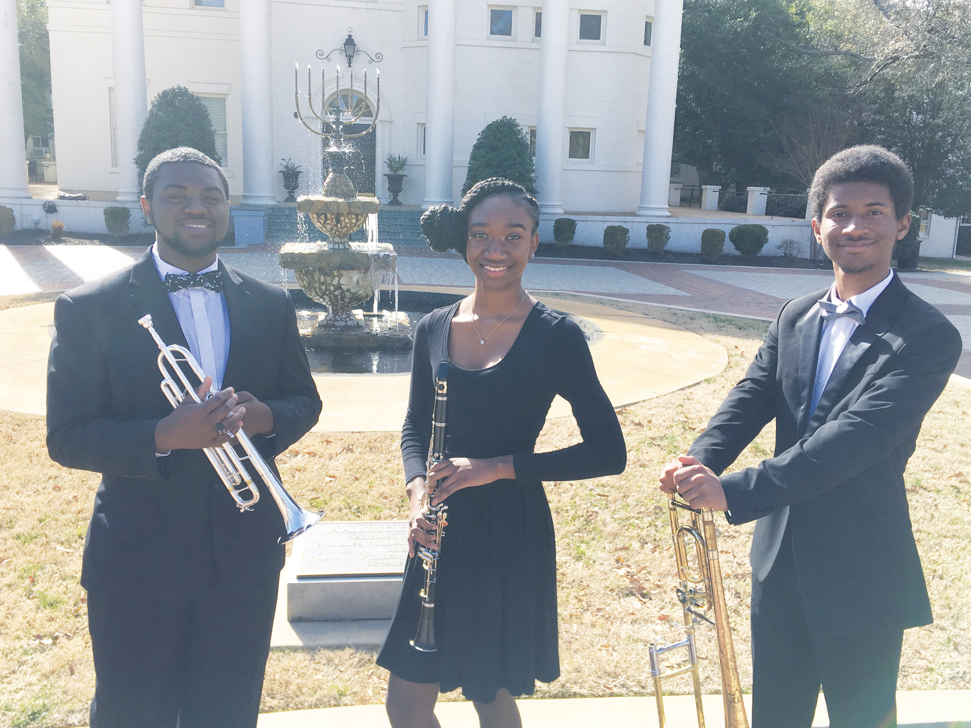 Michael Miller, Nastajia Hamilton and Logan Mack represented Manning High School recently at the 11th-Annual Limestone College High School Honor Band Clinic. The three also represented Manning High at the 40th-Annual USC Symphonic Band Clinic recently. They had an intensive four-day musical experience filled with rehearsal, Master classes and concert performances by some of the top high school, collegiate and professional groups in South Carolina and Georgia. All three had a stellar performance at the Koger Center.