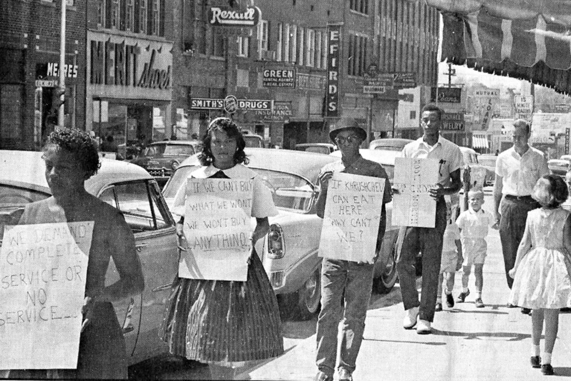 Friendship College students protest in front of McCrory's in Rock Hill in 1960.