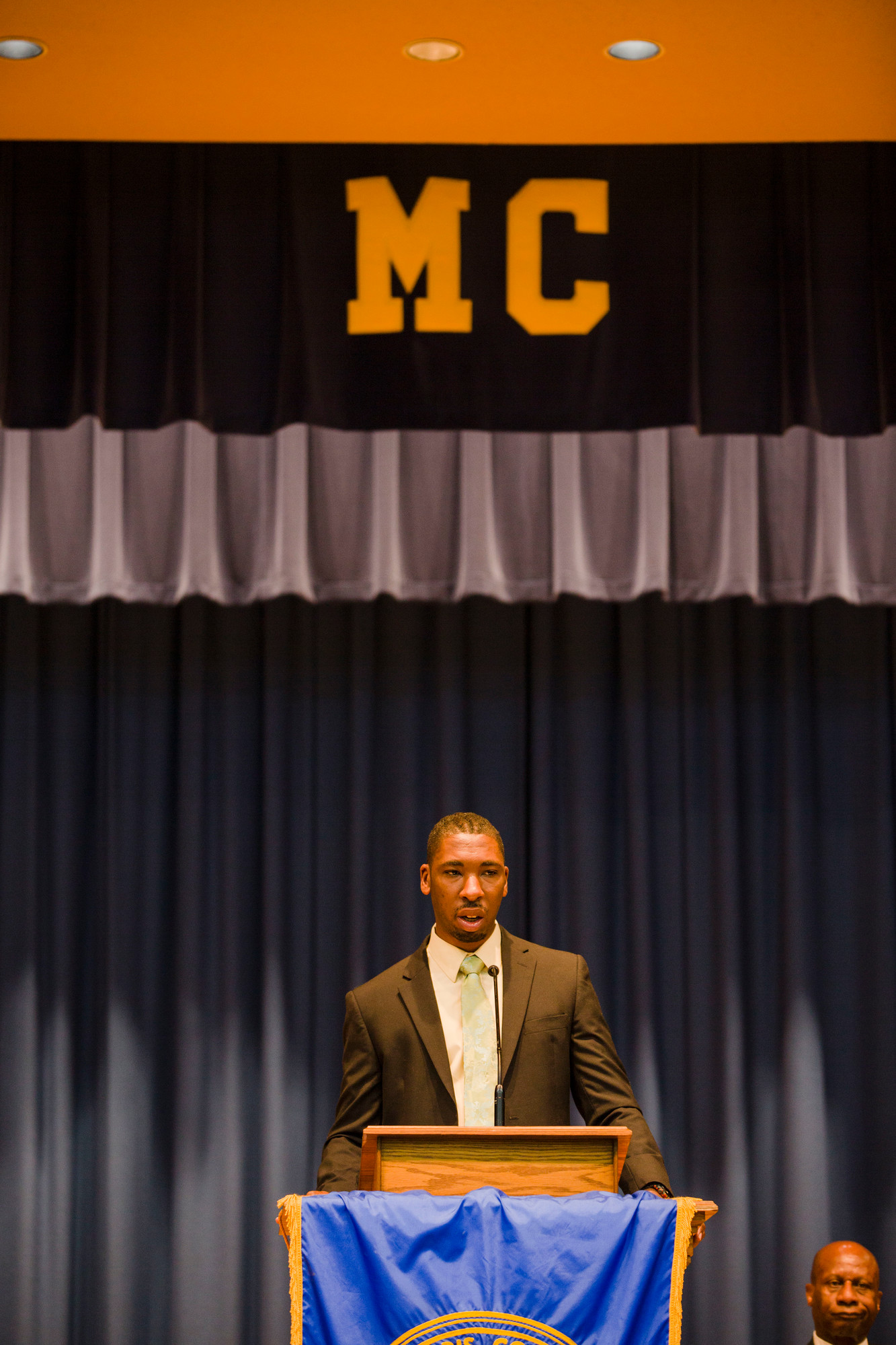 Howard Conyers speaks during Morris College's honors fall 2017 semester convocation on Thursday. Conyers is a NASA engineer and is known for his BBQ pit   master skills.