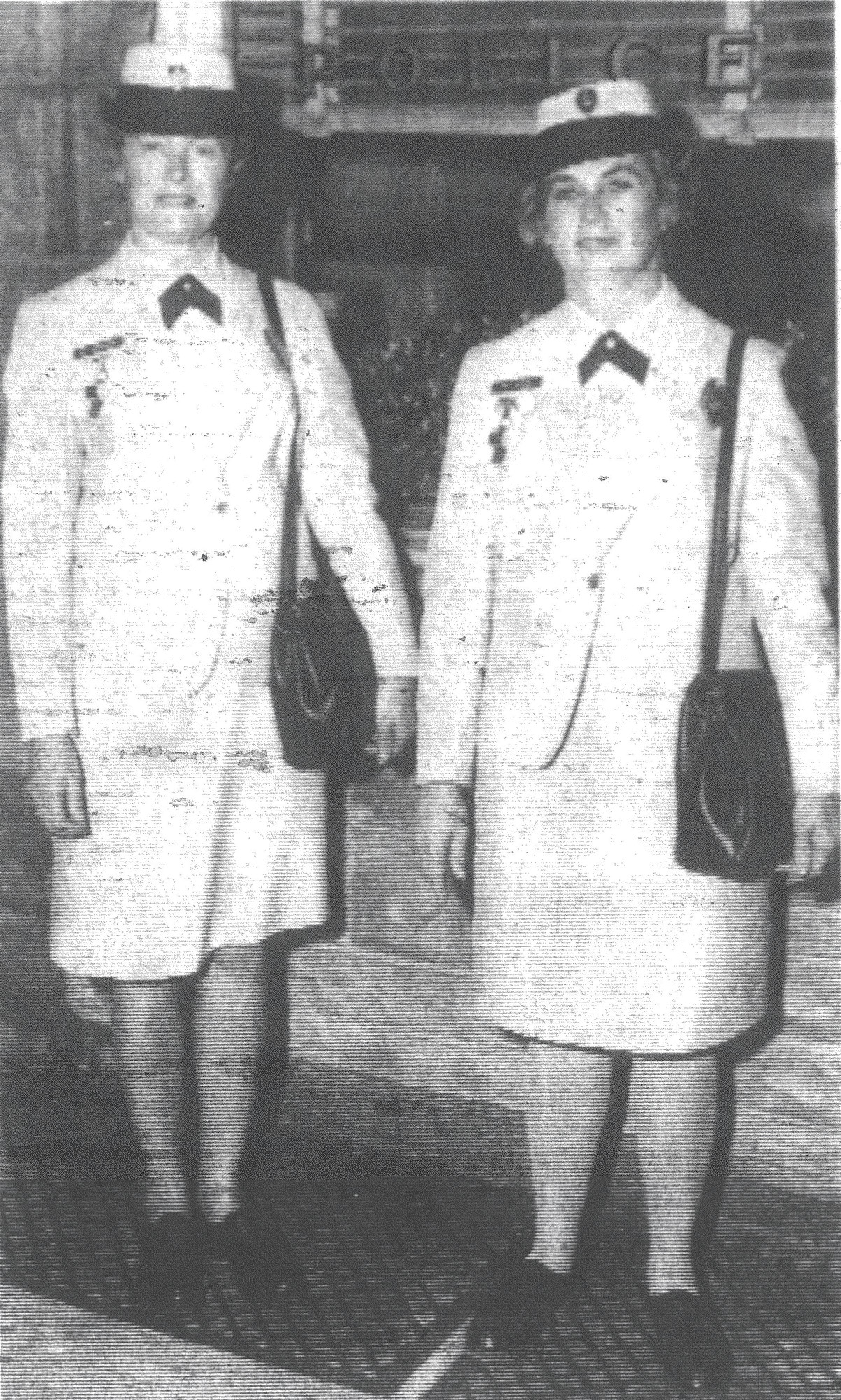 1968 - Shown in their summer attire are Mrs. Tippy Mixon and Mrs. Tony Bradley, members of Sumter Police Department. The new uniforms are lightweight blue-and-white seersucker trimmed with silver buttons. Completing the uniforms are blue-and-white Milan straw hats.
