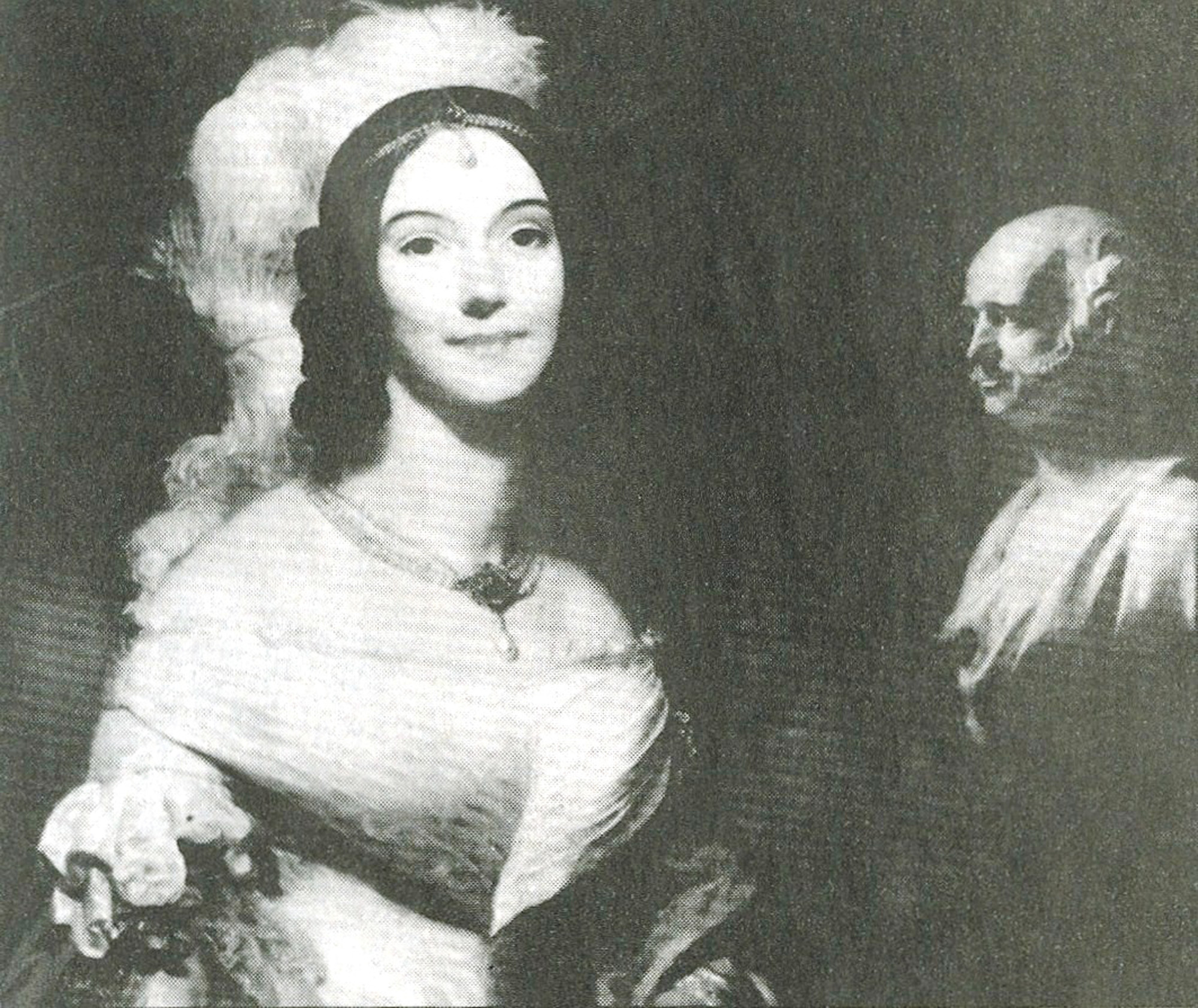 "Sara Van Buren served as ""first lady"" of the United States after she married President Martin Van Buren's son, Abraham Van Buren. The widowed president asked her to fill in for the role. The bust in the right of her portrait is of President Martin Van Buren."