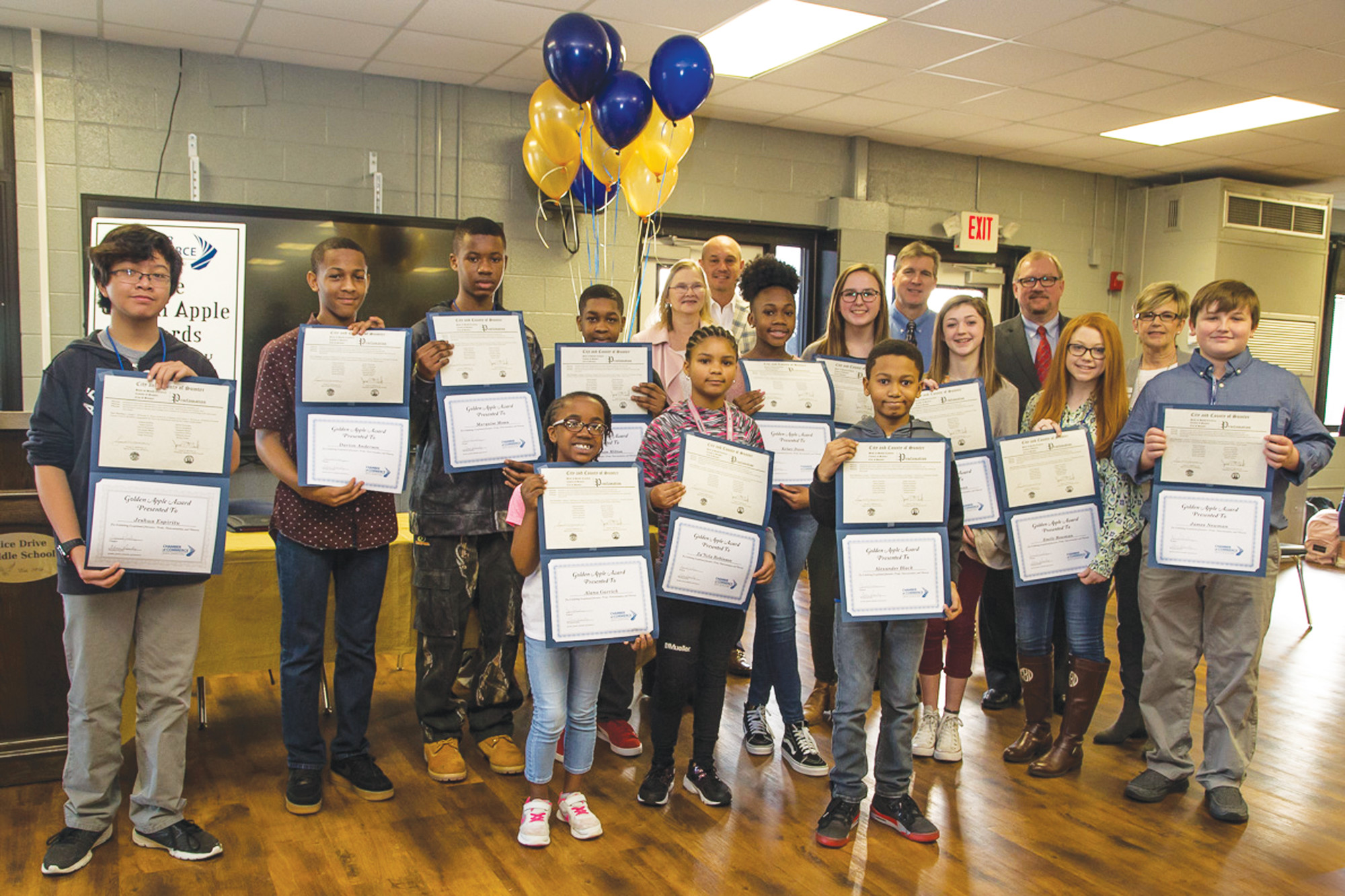 PHOTO PROVIDEDGolden Apple Award winners at Alice Drive Middle School