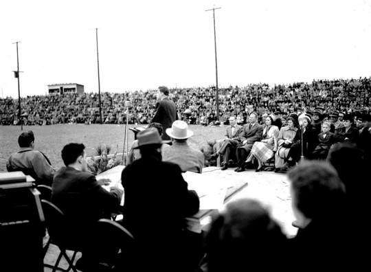The Rev. Billy Graham held a service that filled the Sumter Fairgrounds, then a football field, in March of 1950. Schools closed early, and the service was broadcast on radio station WFIG.