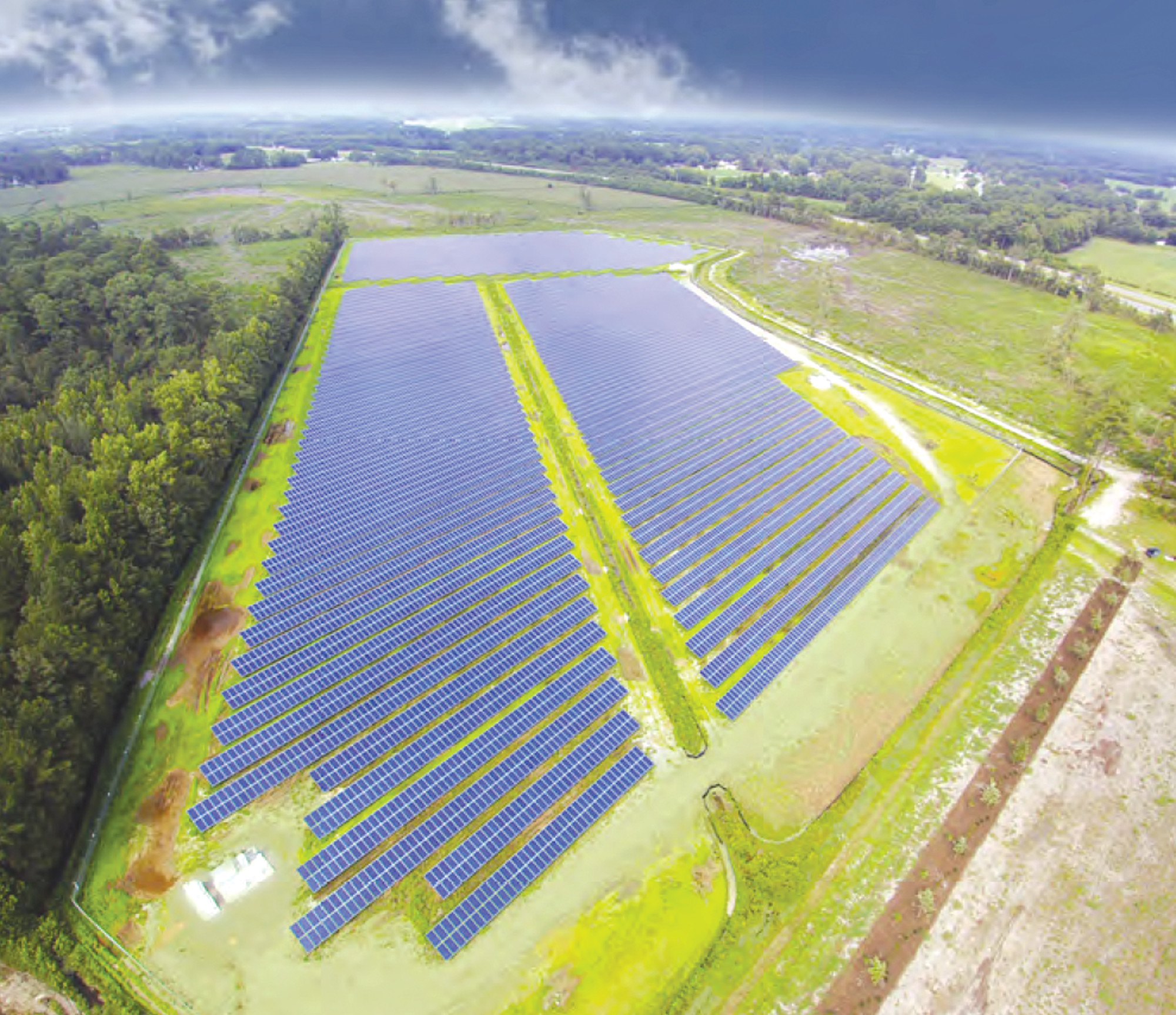 A solar farm built by Southern Current and co-developed by Strata Solar on 40 acres is seen in Goldsboro, North Carolina. Southern Current will invest $100 million in six solar farm developments in Lee County.