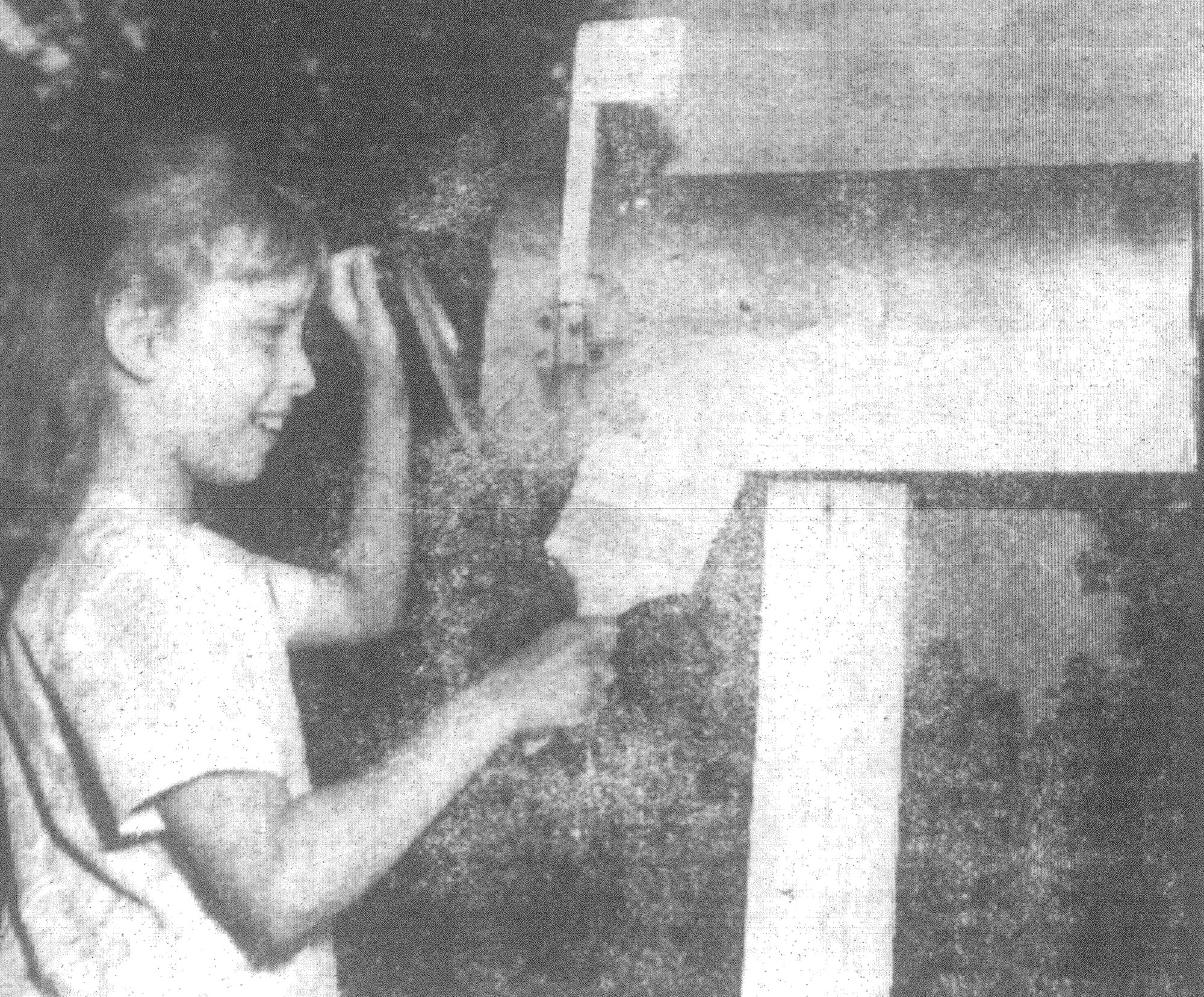1968 - Nancy DuRant, a fourth-grader at Manning Elementary School, puts a new coat of paint on her mailbox at Rt. 1, Alcolu, in observance of Mailbox Improvement Week. Although white paint is preferred by the Post Office Department, regulations now allow colors to be used to brighten up a drab mailbox.