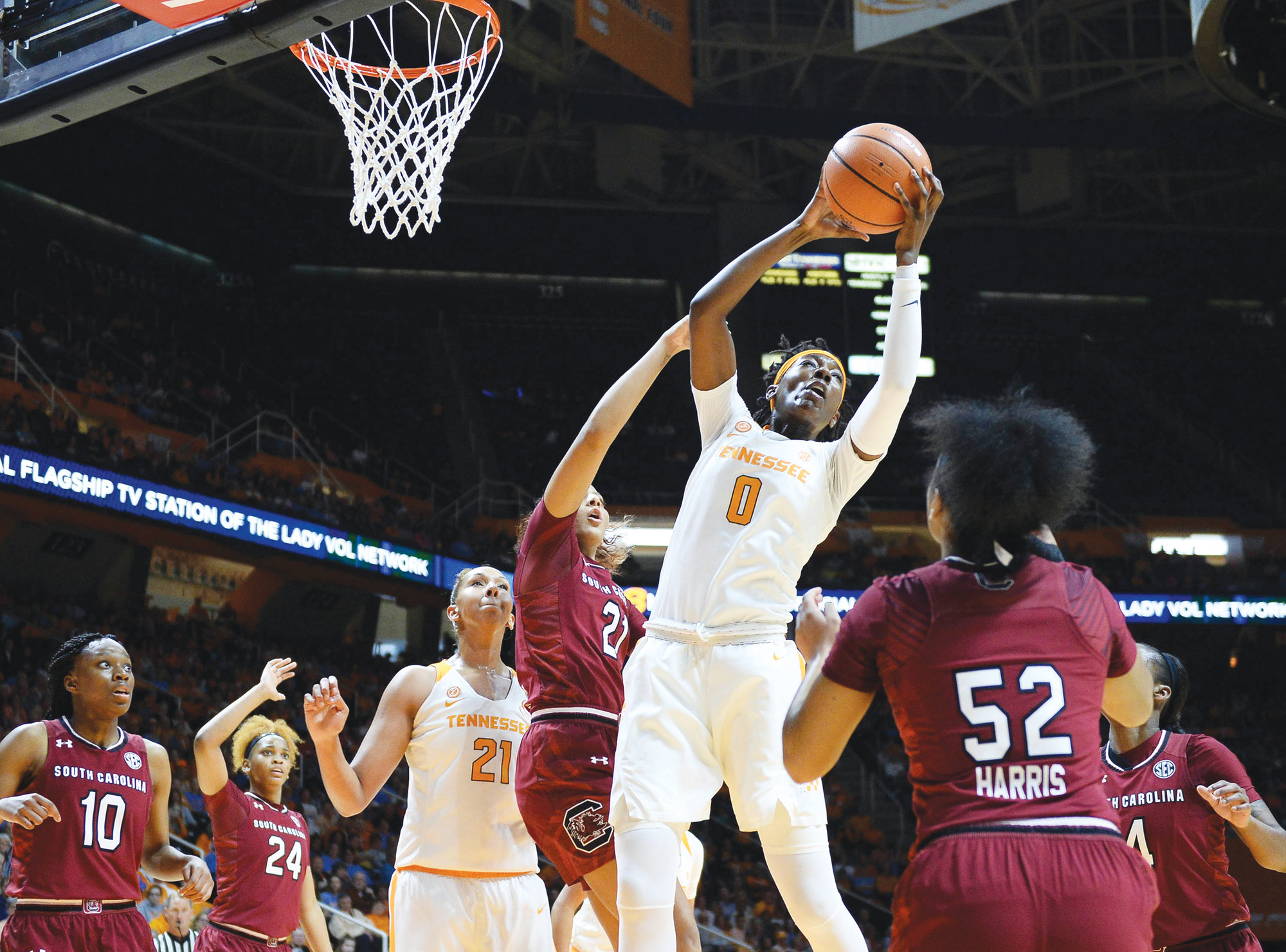 Joy Kimbrough / The Daily Times via APTennessee's Rennia Davis (0) pulls down a rebound during the Lady Volunteers' 65-46 victory over South Carolina on Sunday in Knoxville, Tennessee.