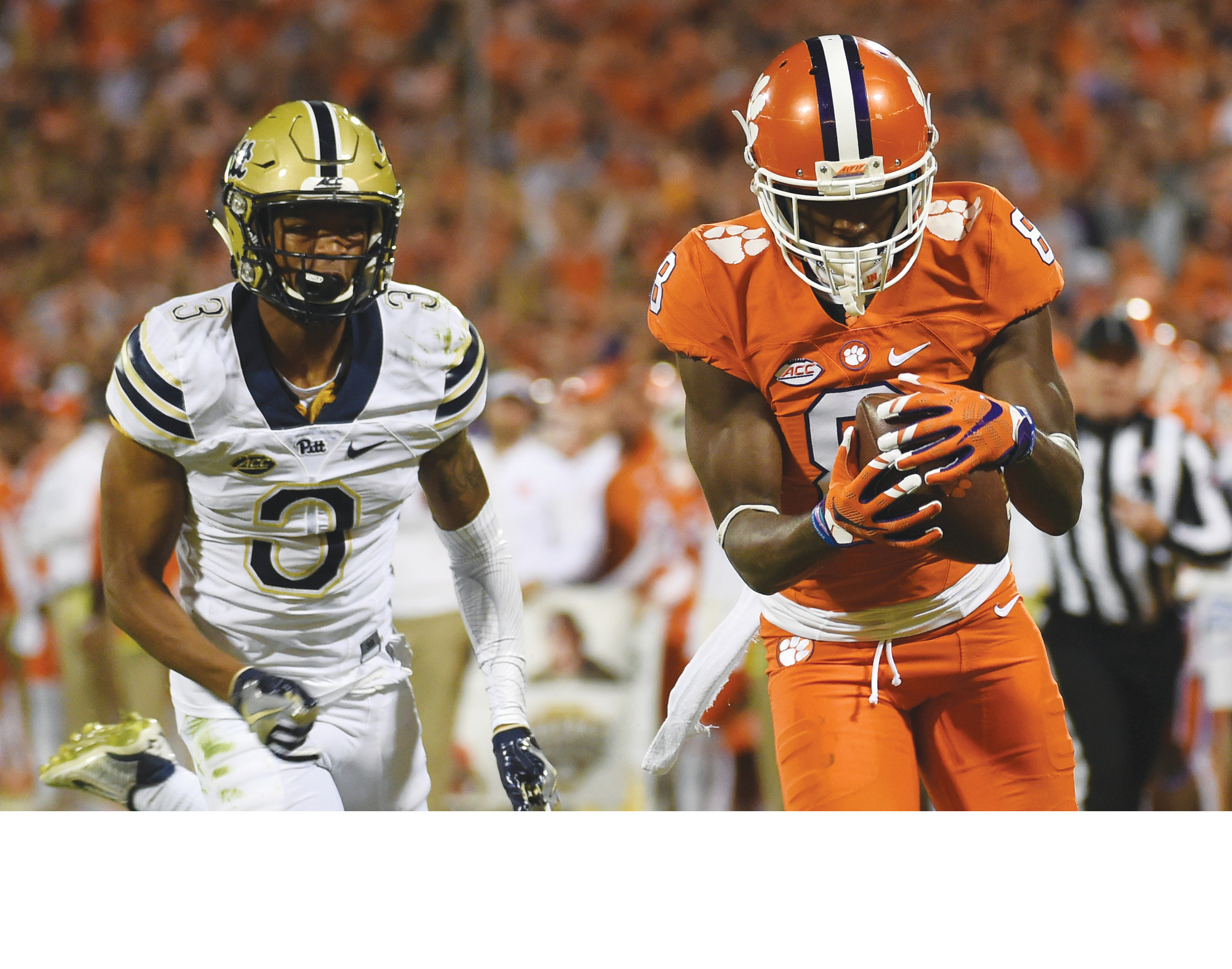 Clemson wide receiver Deon Cain (8) makes a catch as Pittsburgh defensive back Damar Hamlin (3) defends during their 2016 game in Clemson. Cain knows the questions are coming and he is looking forward to answering them this week at the NFL combine.
